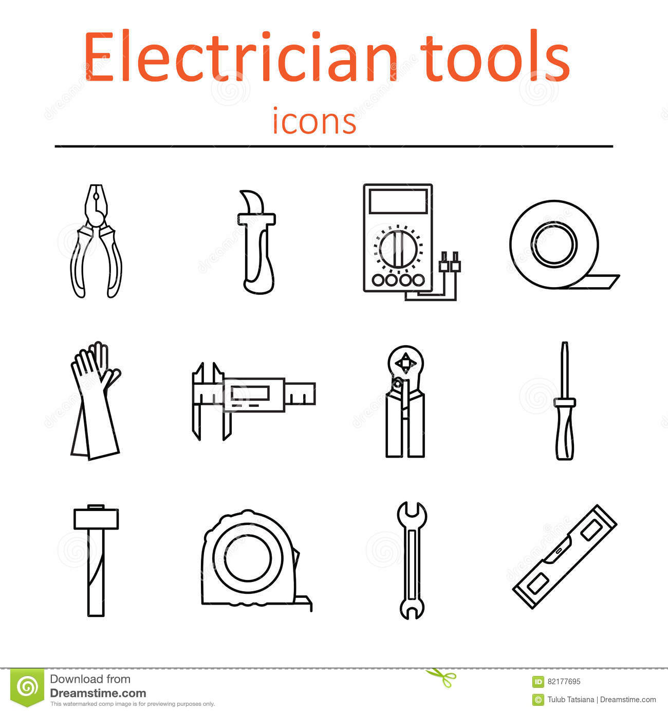 icon set of tools electrician stock vector illustration of rh dreamstime com Electrical Distribution Line Diagram Template One Line Electrical Diagram