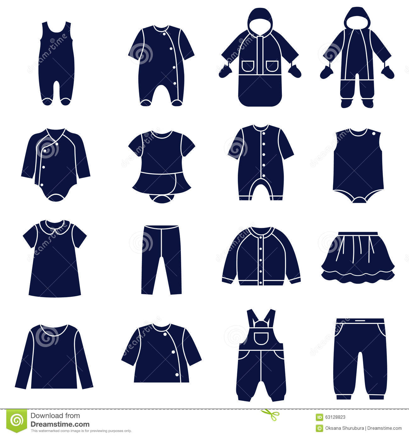 Icon Set Types Clothes For Babies Stock Vector