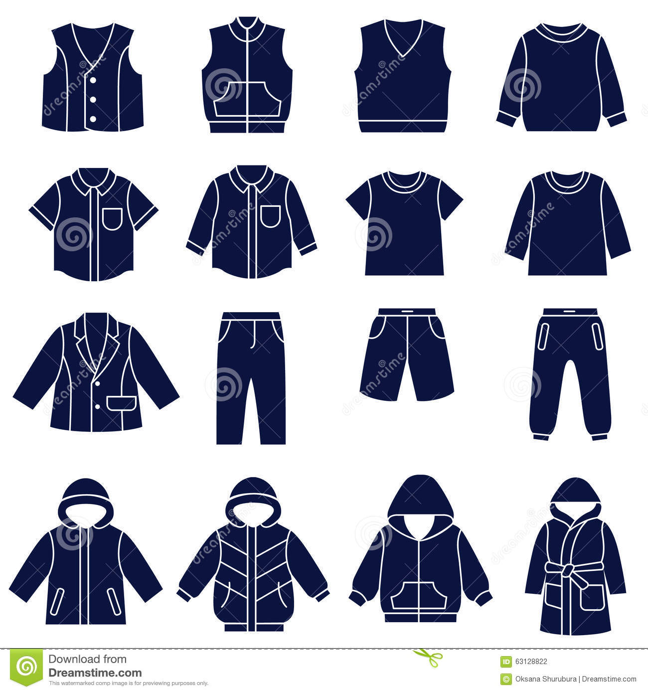 30e662dc17 Icon Set Of Types Of Clothes For Boys And Teenagers Stock Vector ...