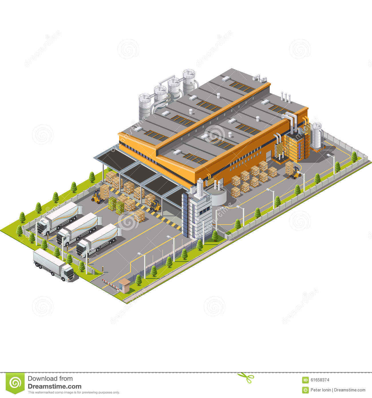 Icon Set Warehouse Industrial Area Stock Vector - Image ...