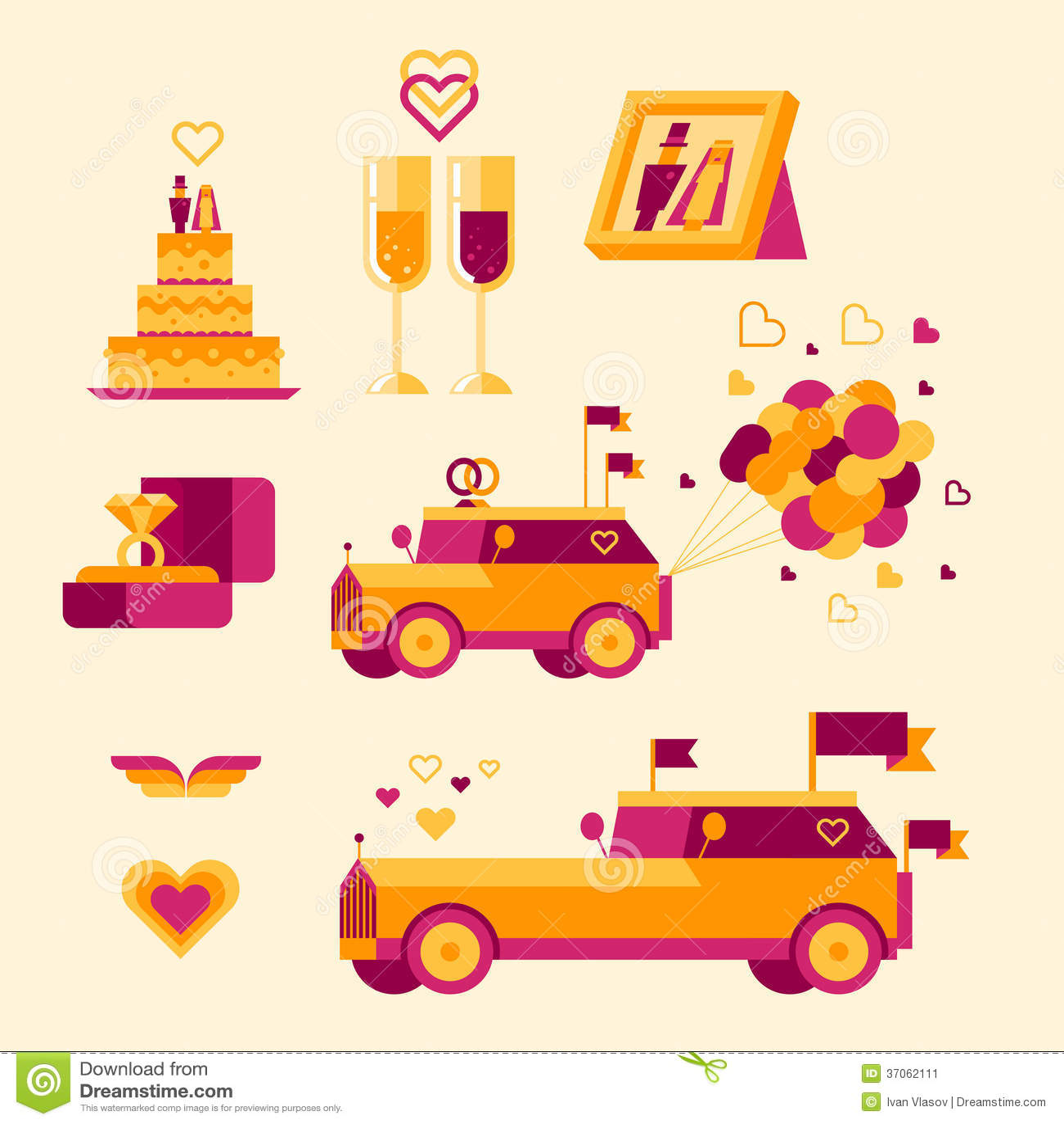 Icon Set For A Wedding Celebration Stock Illustration