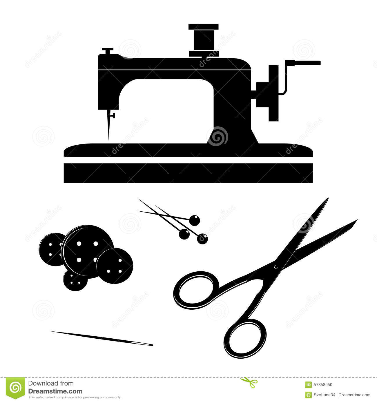 Icon Sewing Machine Silhouettes Subjects Buttons Needle Scissors Abstract