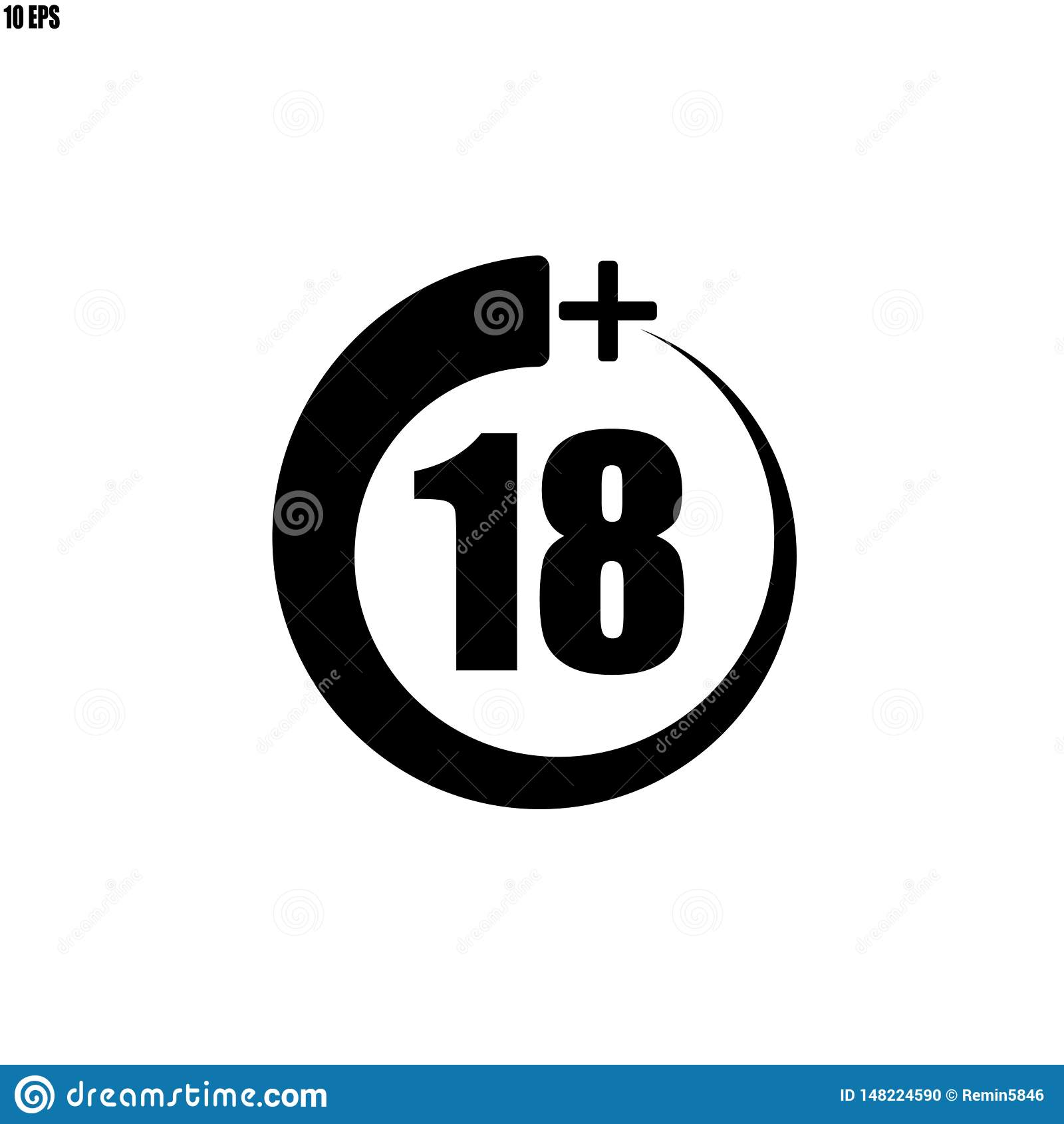 18+ icon, sign.Information icon for age limit - vector illustration