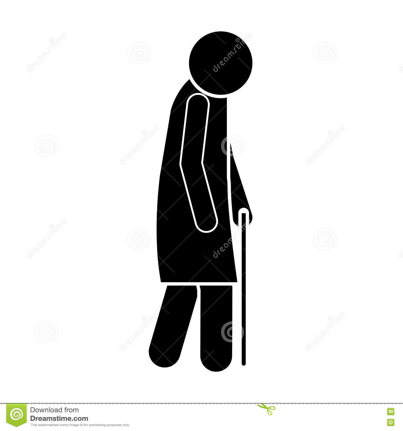 Icon Silhouette Elderly Woman With Walking Stick Stock Vector