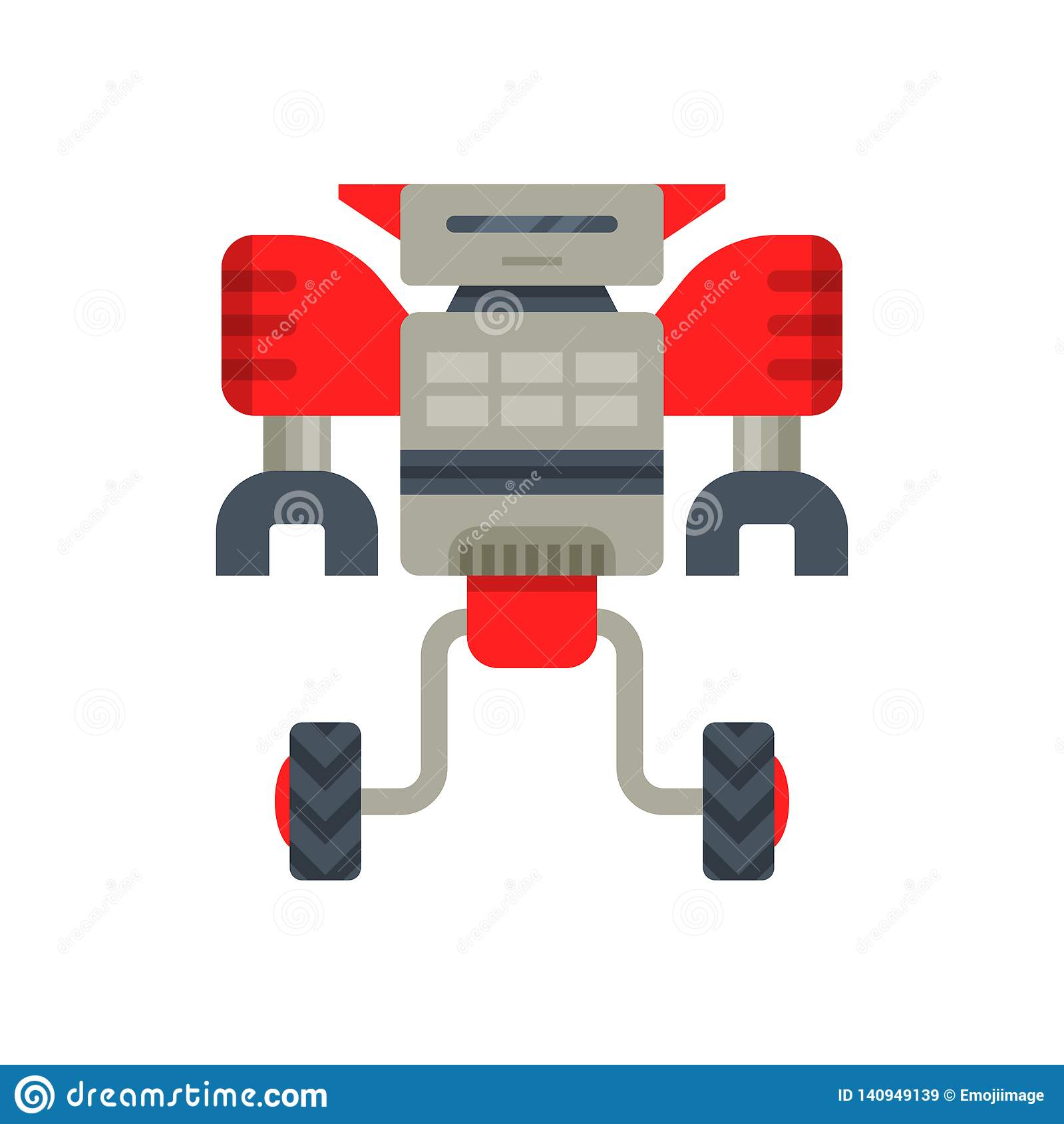 Steel red-gray robot transformer on two wheels. Metal android with claw hands. Flat vector for mobile video game
