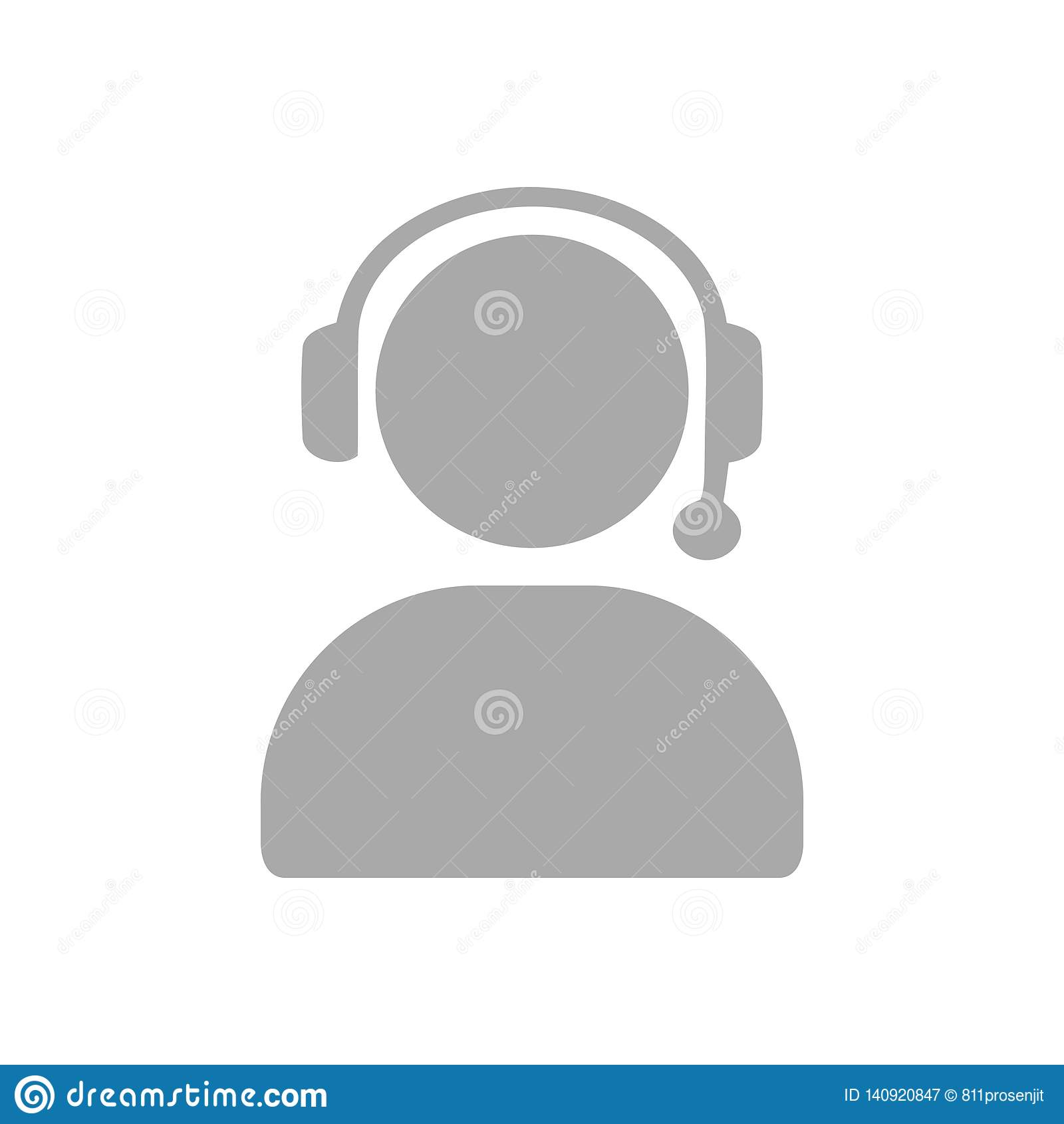 Man Call Head Phone Custom Care Business Customer Support Service Grey Icon Stock Illustration Illustration Of Call Headset 140920847