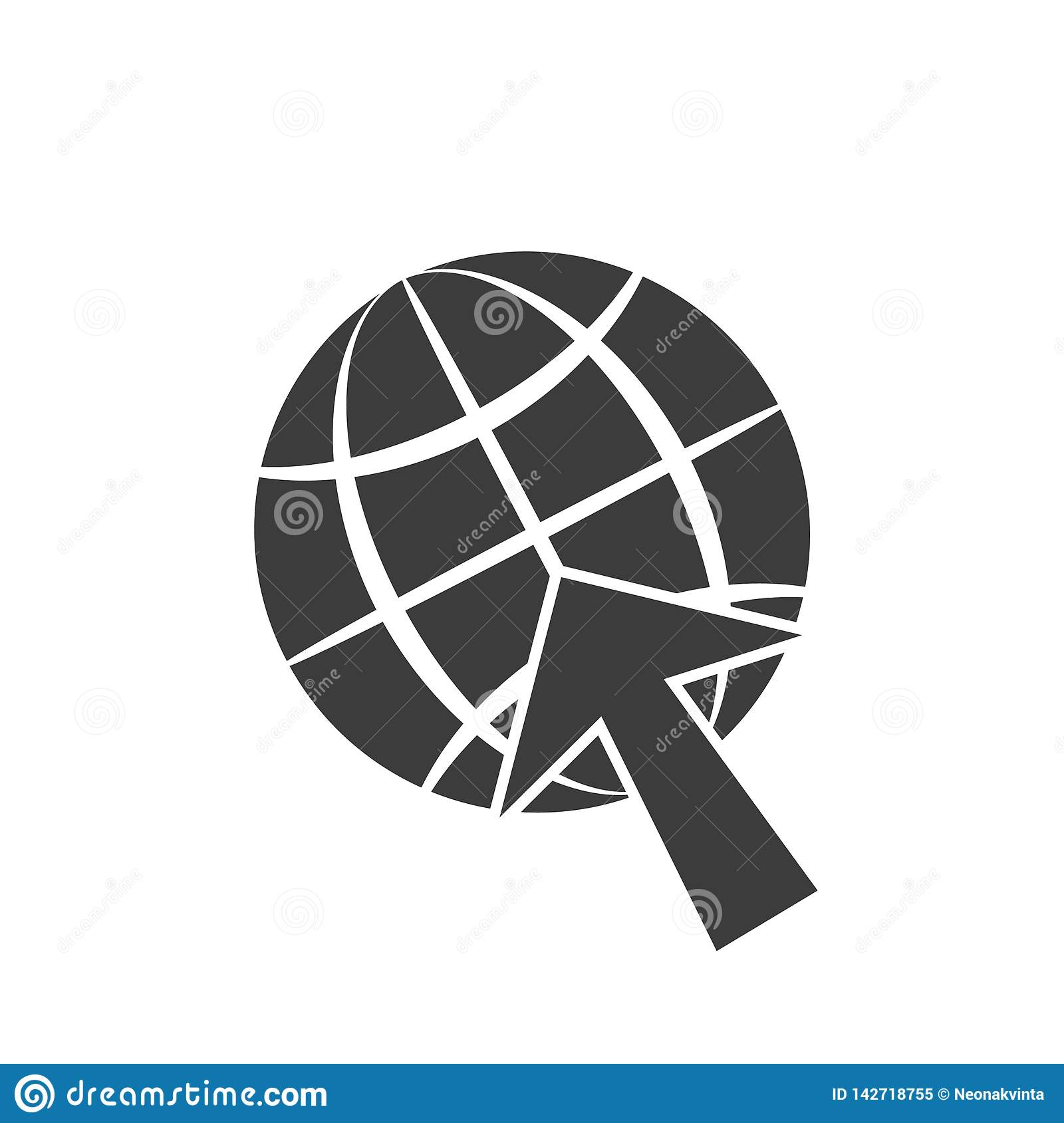 Icon symbol, globe and arrow cursor gray illustration isolate on a white background.