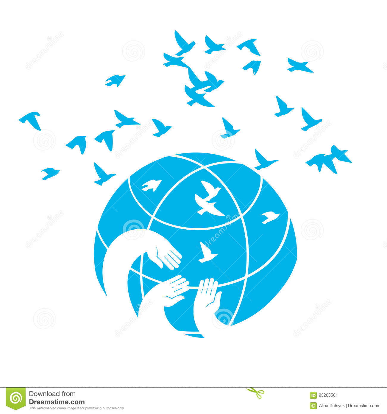 Icon A Symbol Of Peace Blue Planet Stock Vector Illustration Of