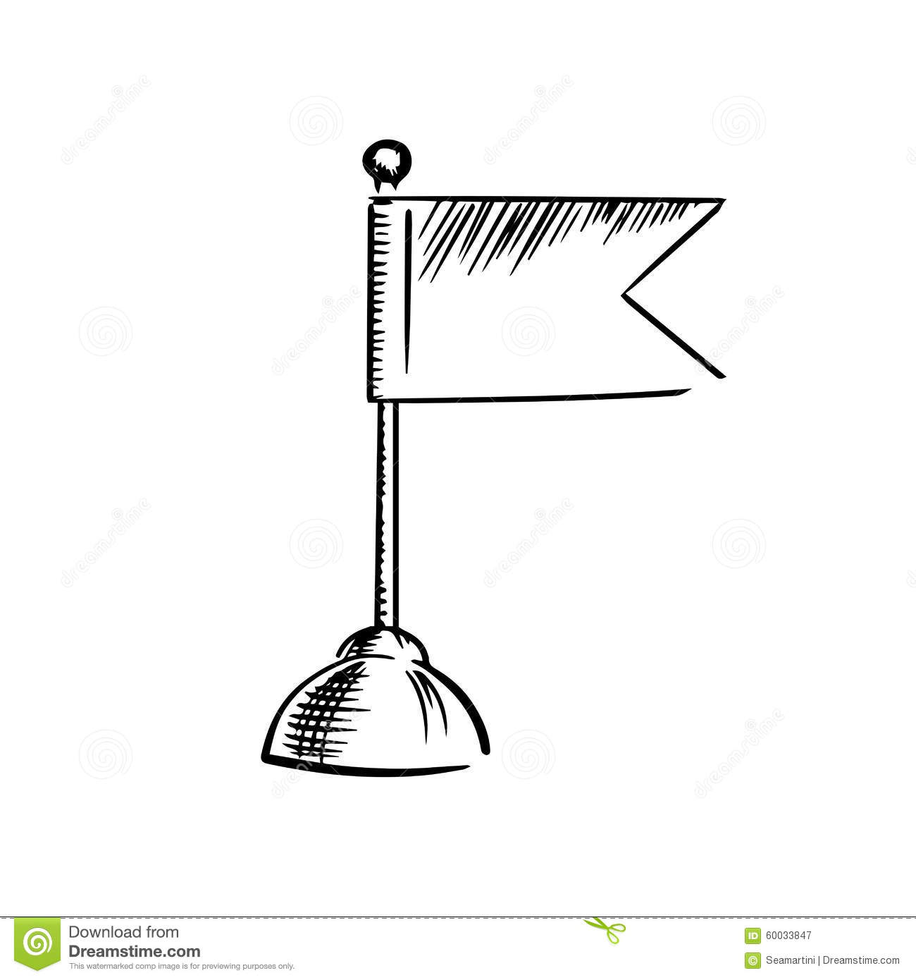 Table flag icon with forked end on heavy round stand, isolated on ...