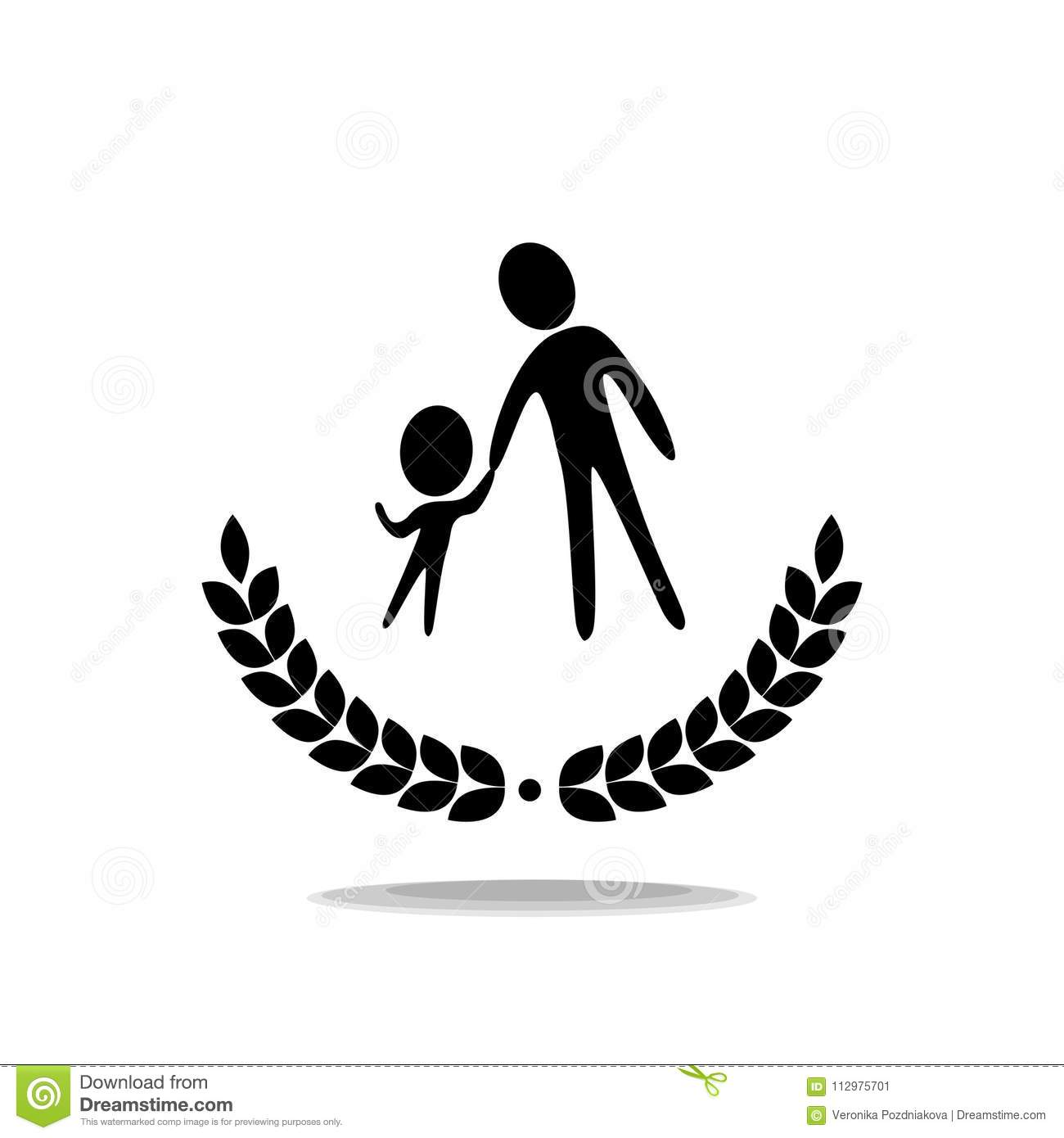 Icon. The teacher leads the child. Logo