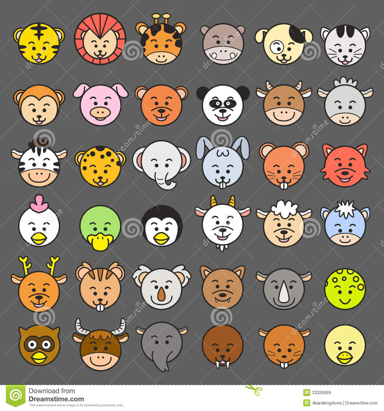 Icon Vector Illustration Of Animal Faces Royalty Free Stock Images Image 33326069
