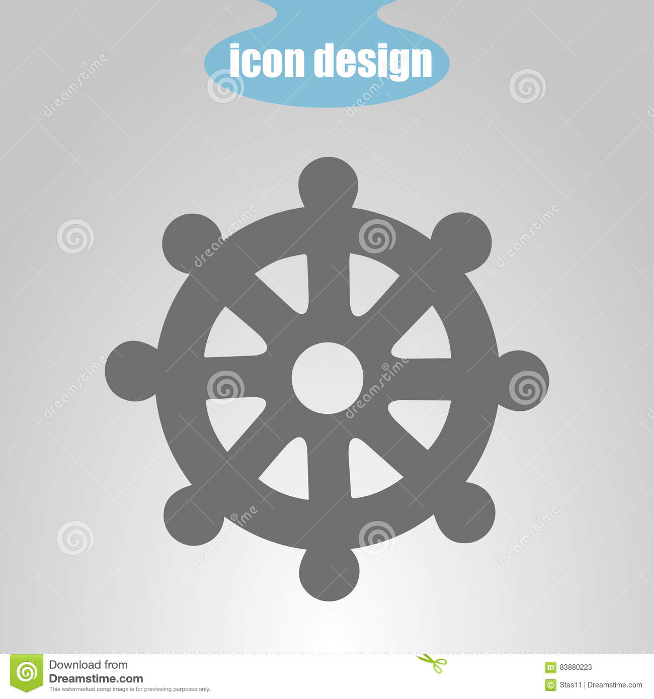 Icon Wheel Of Of Dharma On A Gray Background Vector Illustration