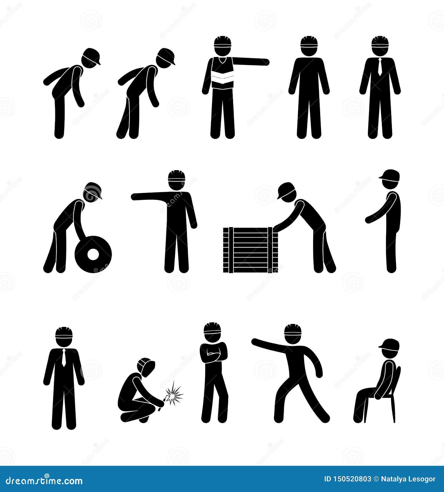 stick figure man icon workwear illustration