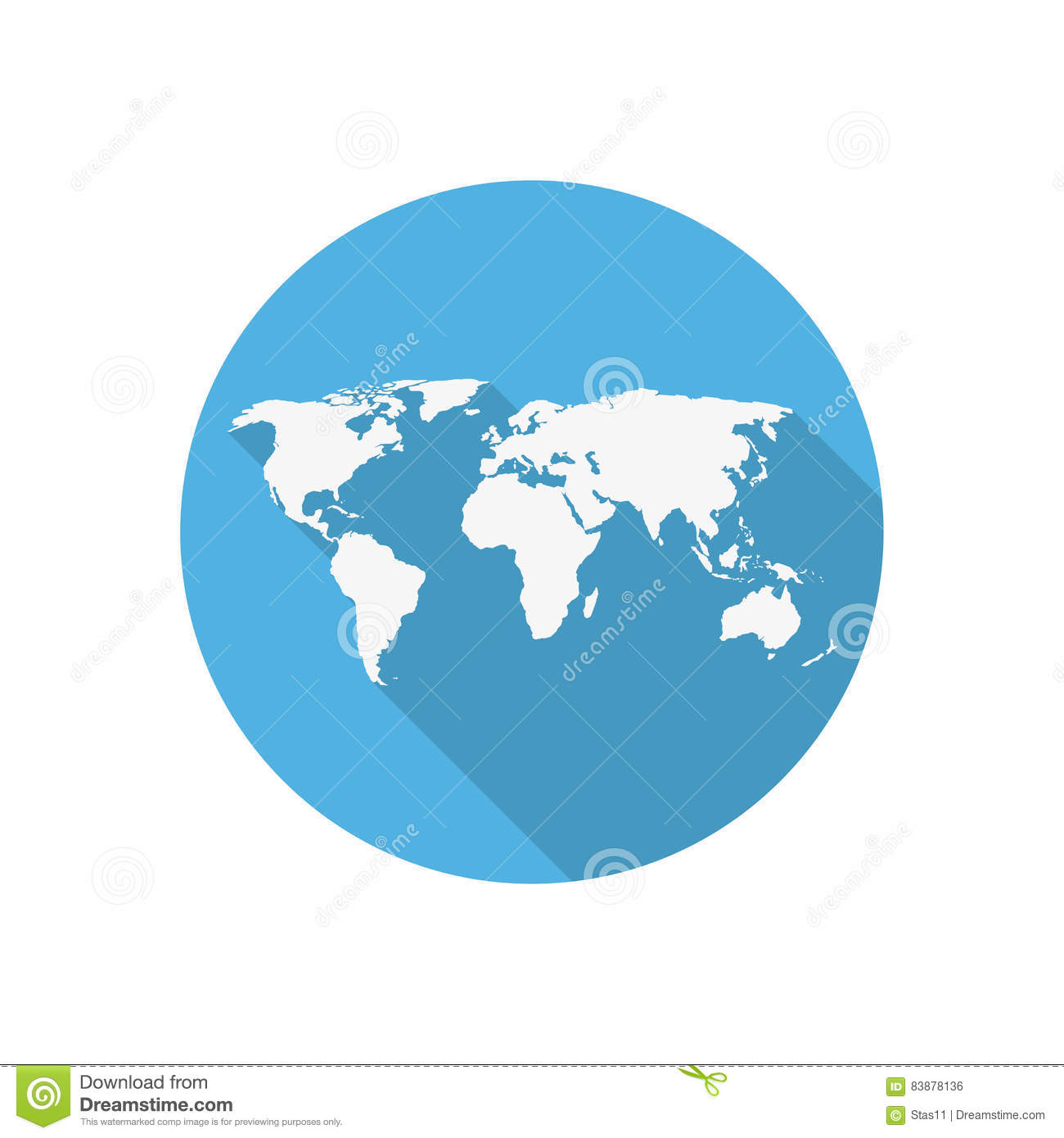Icon world map on a blue circle in a flat design stock vector icon world map on a blue circle in a flat design gumiabroncs Gallery