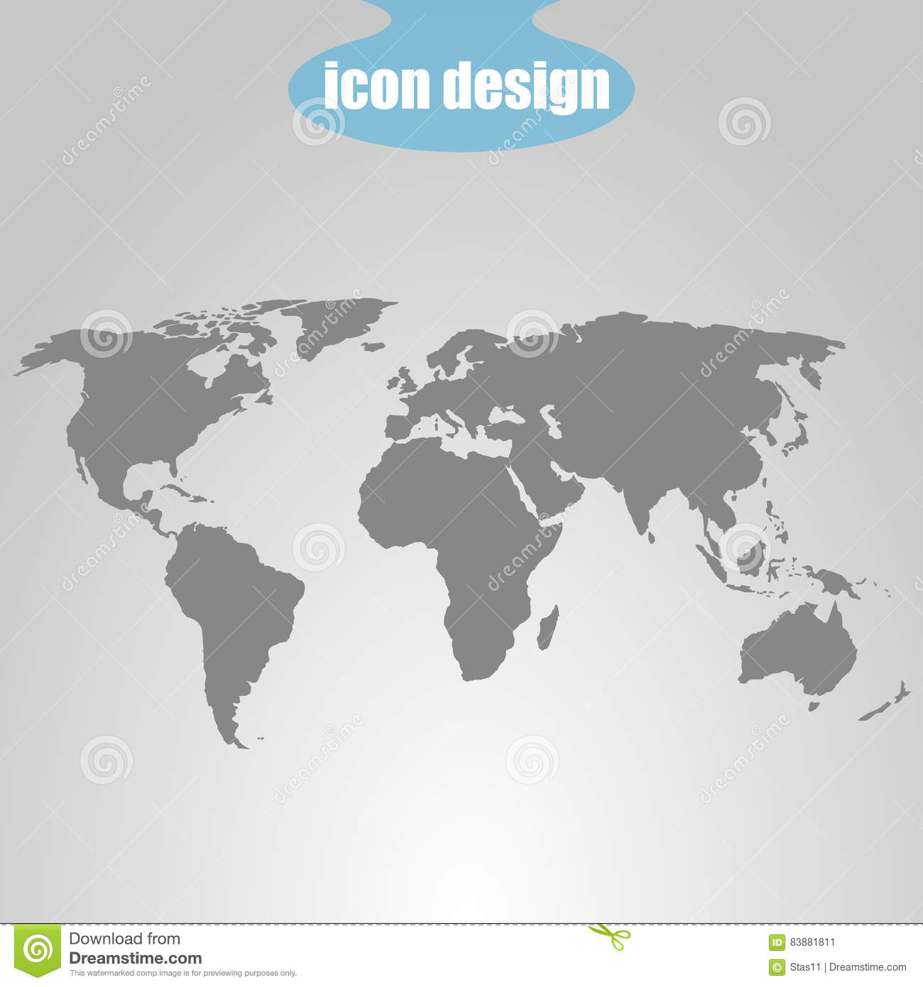 Icon of world map on a gray background vector illustration stock download comp gumiabroncs Image collections