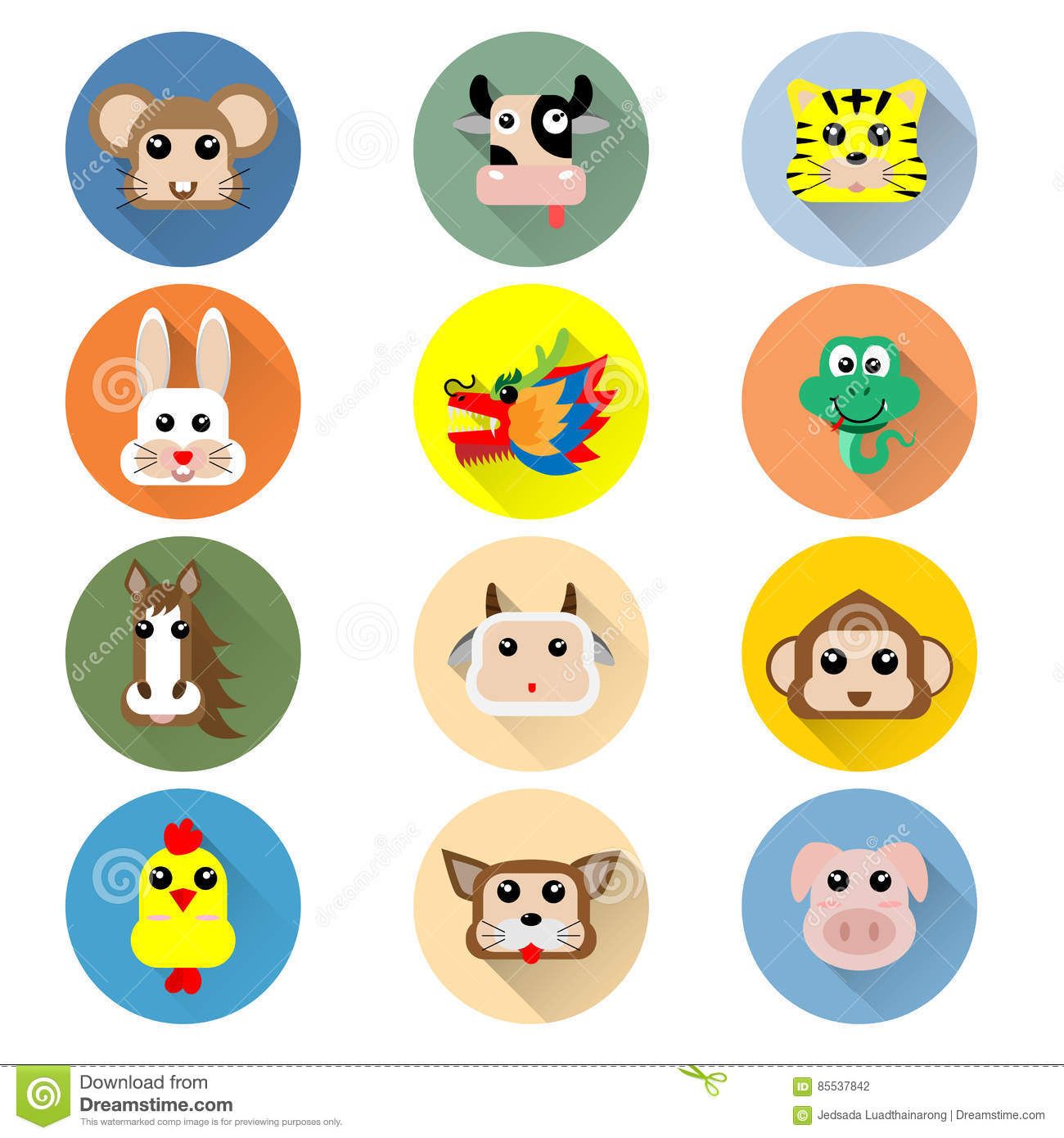 Icon Of Year Of Chinese Zodiac Animal Symbol Stock Vector
