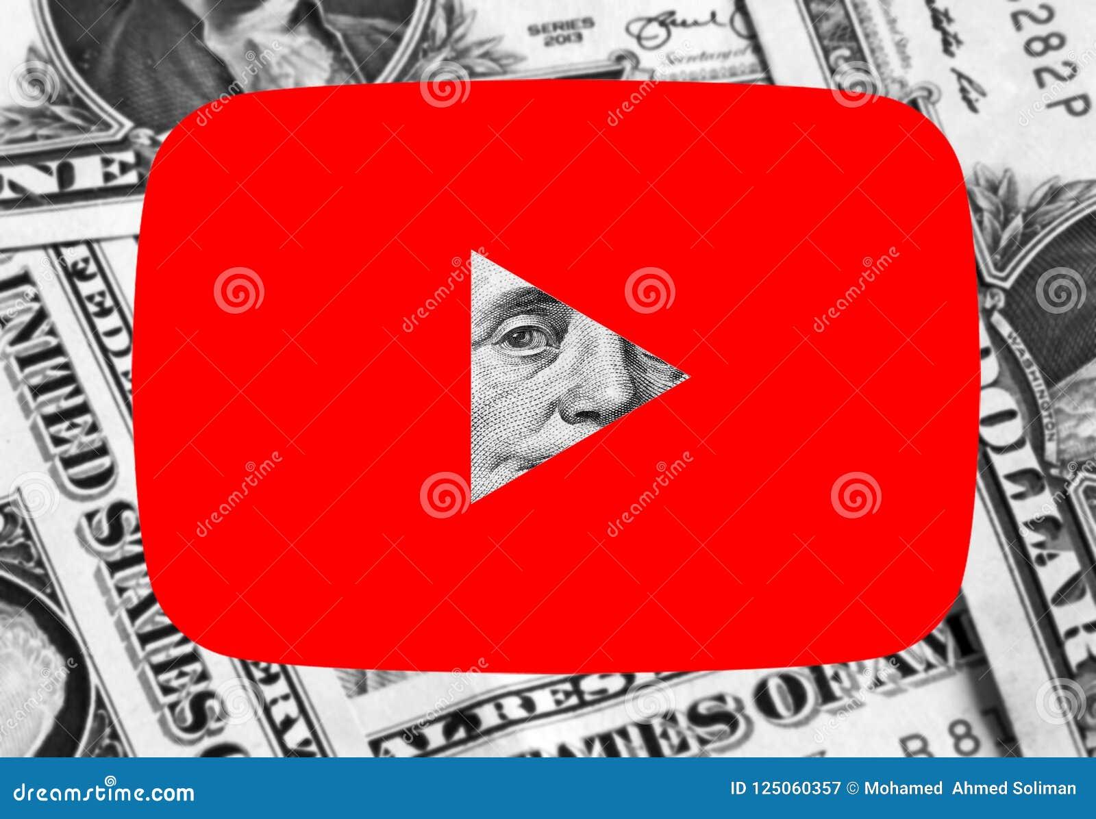 Youtube icon logo money editorial photography  Image of logo