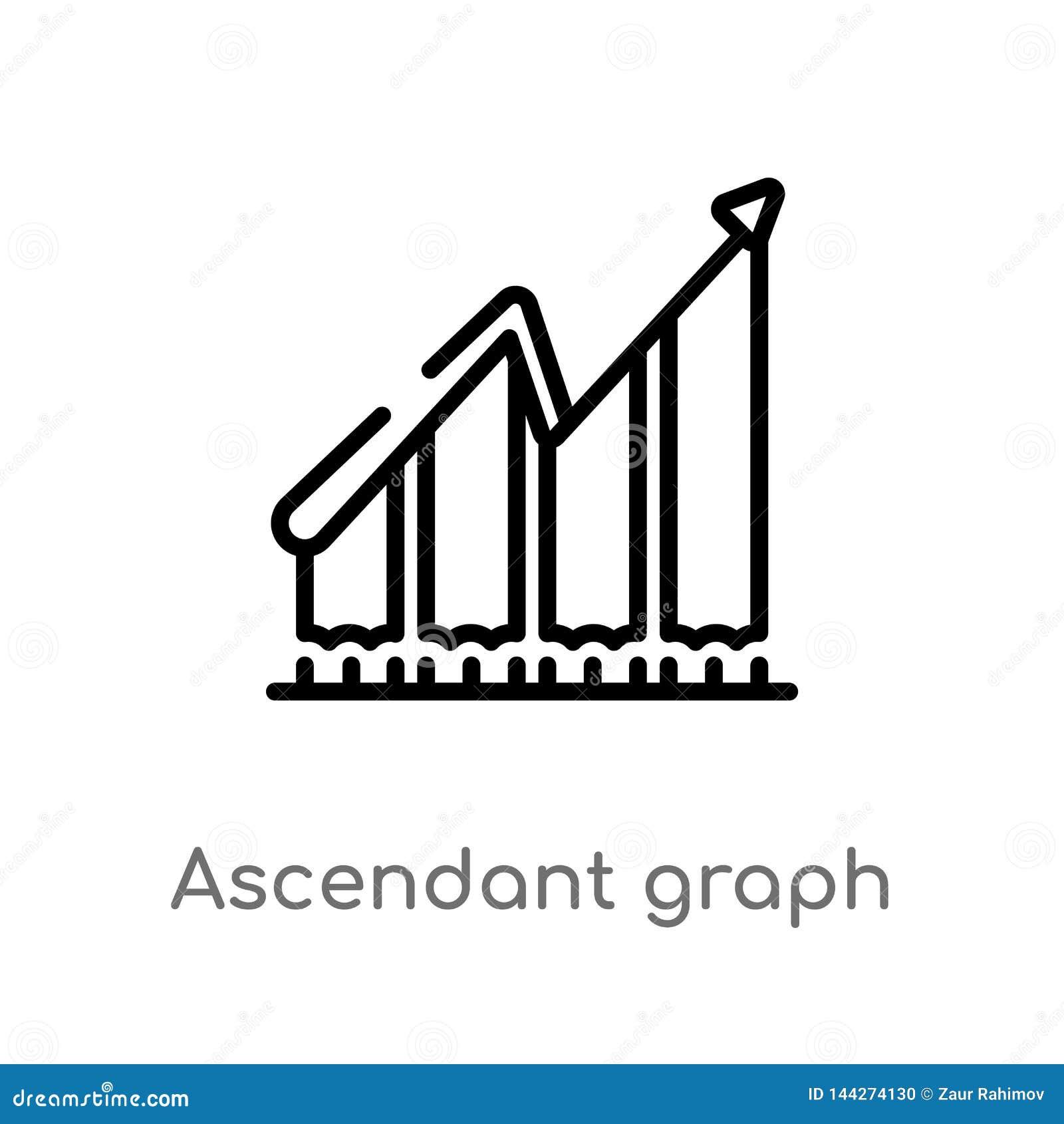 Icona ascendente di vettore del grafico del profilo linea semplice nera isolata illustrazione dell elemento dal concetto di affar