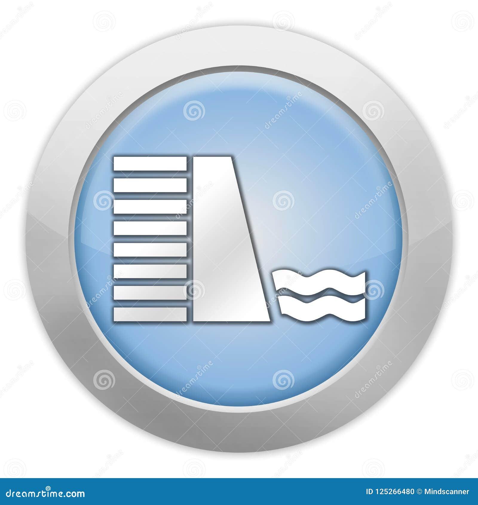 Icona, bottone, diga del pittogramma Illustrazione di Stock