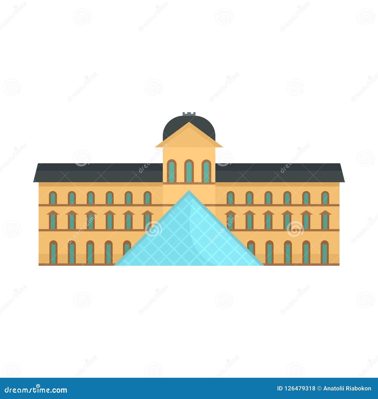 Icona centrale del museo edificio di Parigi, stile piano