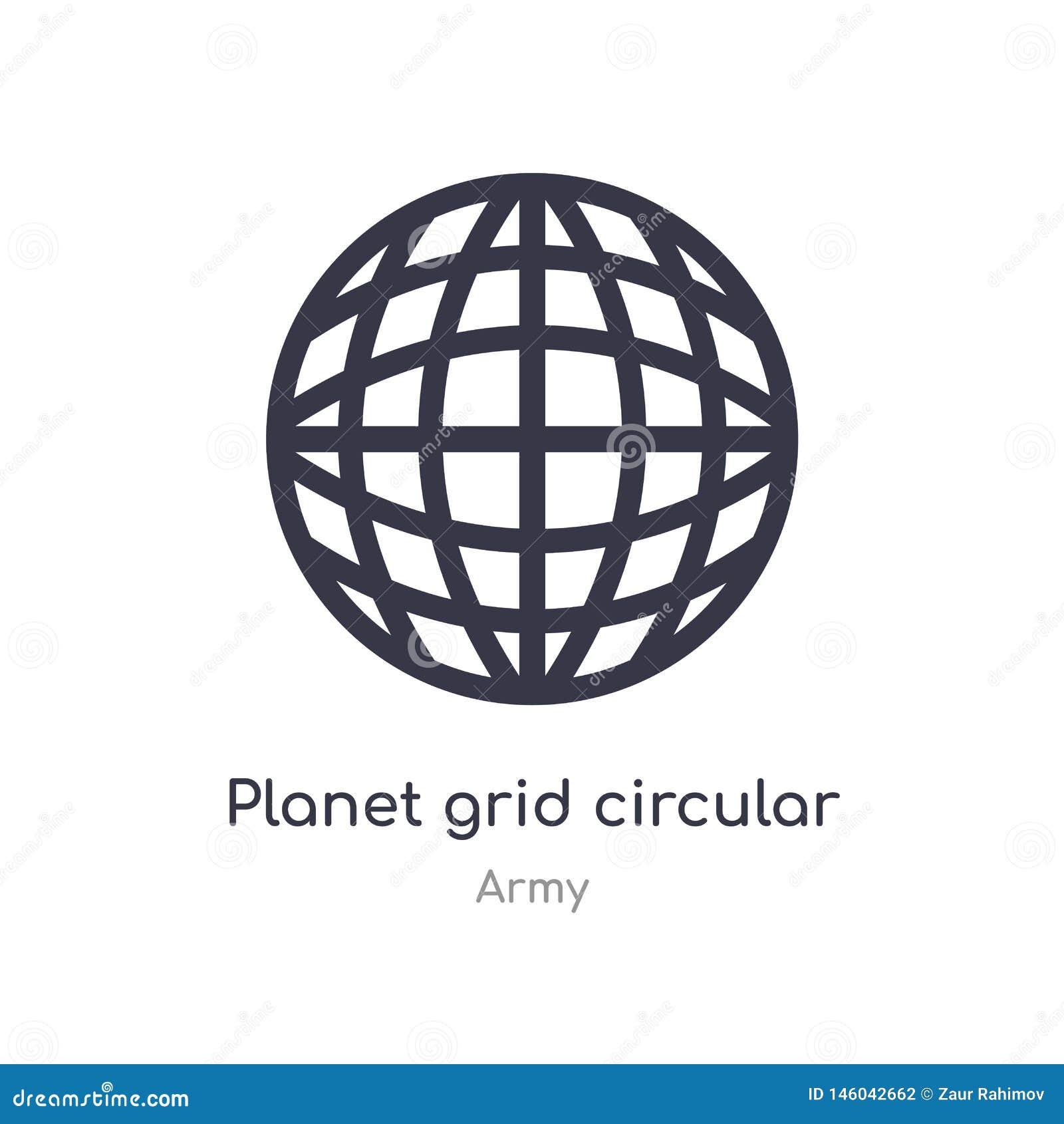 Icona circolare del profilo di griglia del pianeta linea isolata illustrazione di vettore dalla raccolta dell esercito griglia so