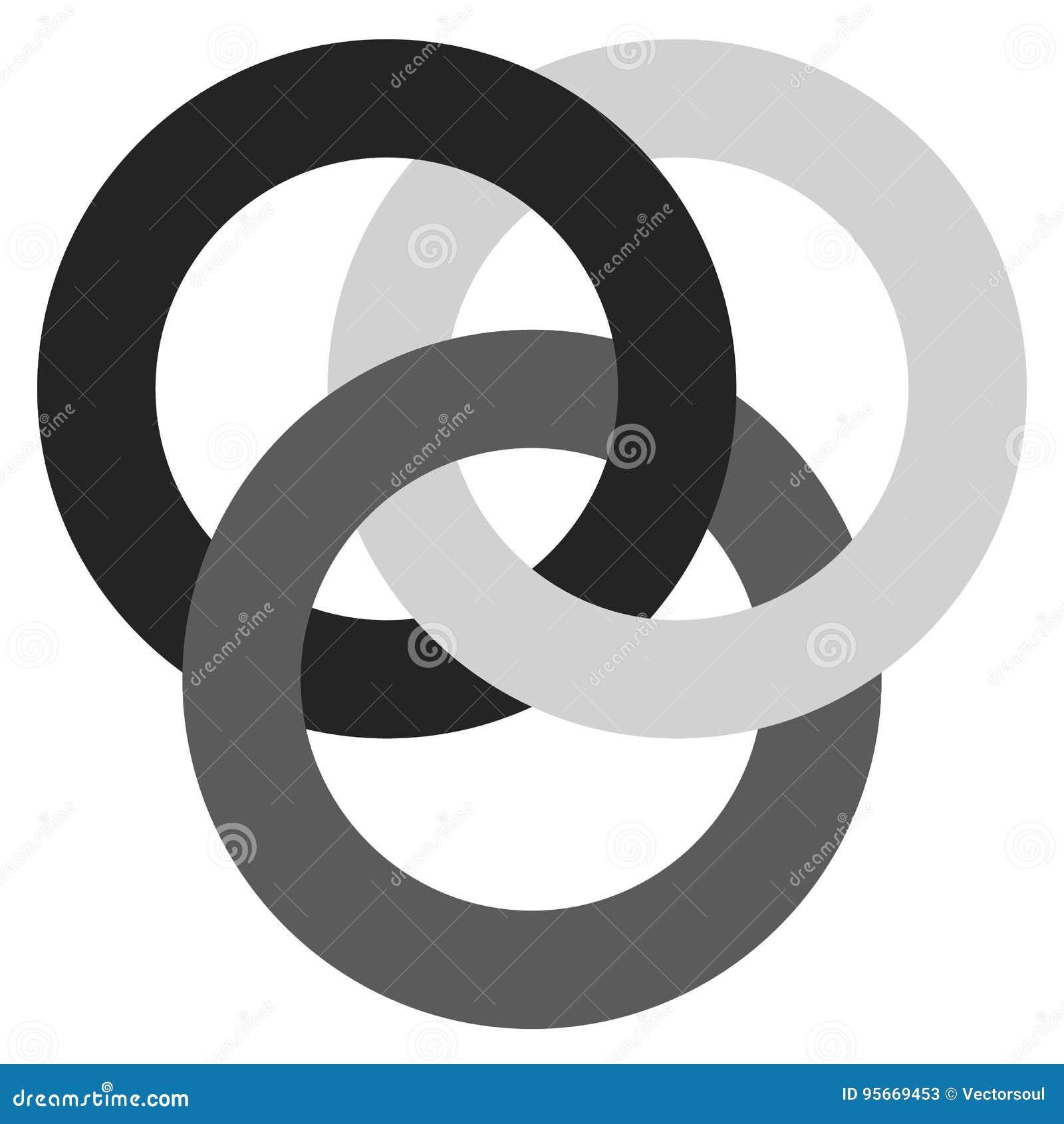 Icona con 3 cerchi di collegamento Anelli Simbolo astratto per il raggiro