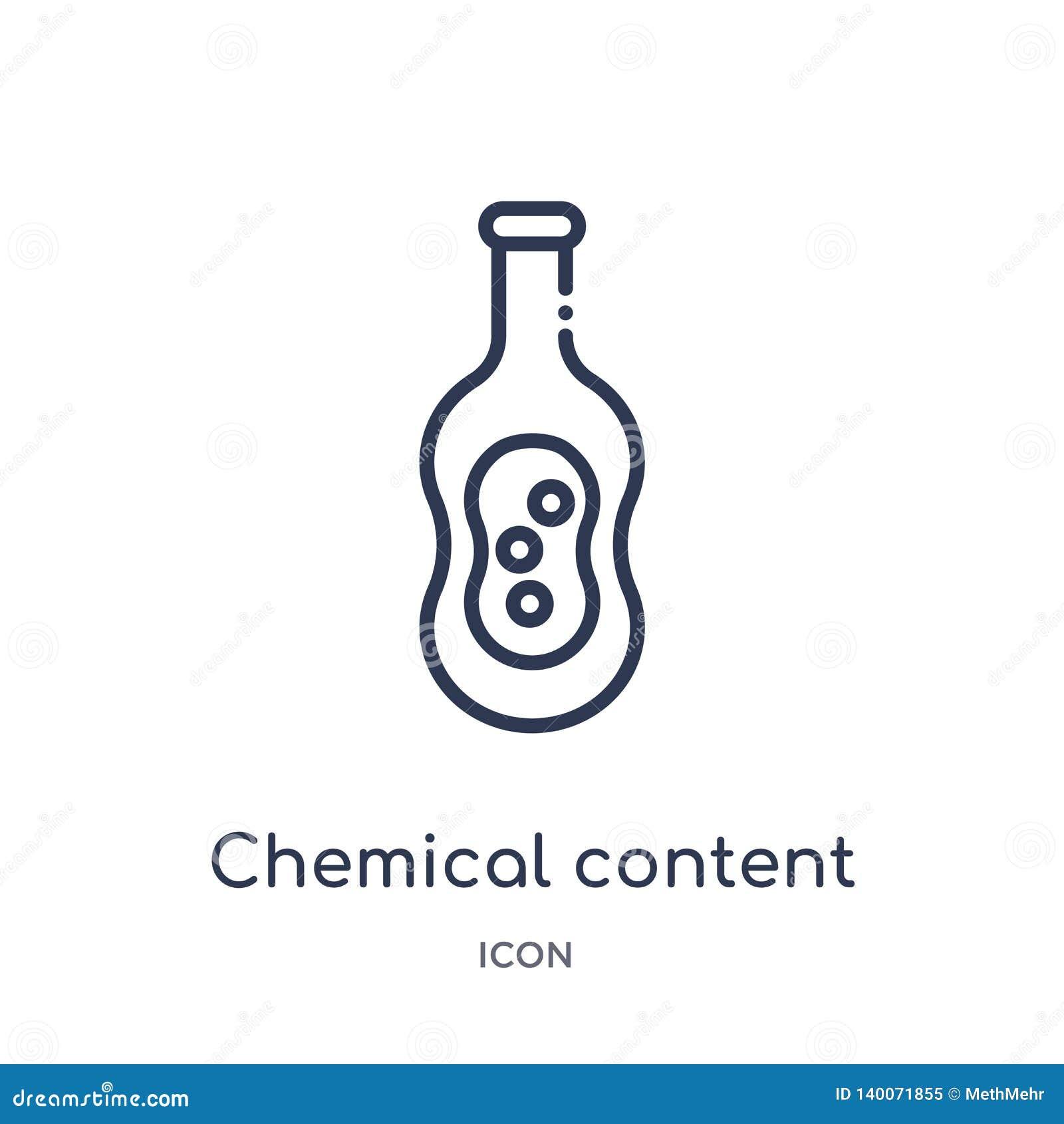 Icona contenta chimica lineare dalla raccolta del profilo di istruzione Linea sottile icona contenta chimica isolata su fondo bia