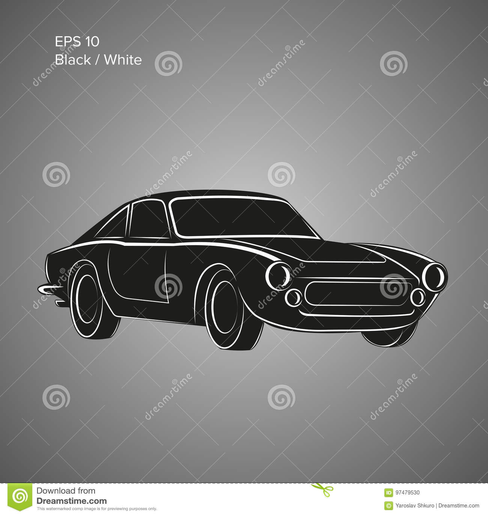 Icona d annata dell illustrazione di vettore dell automobile sportiva Automobile classica europea