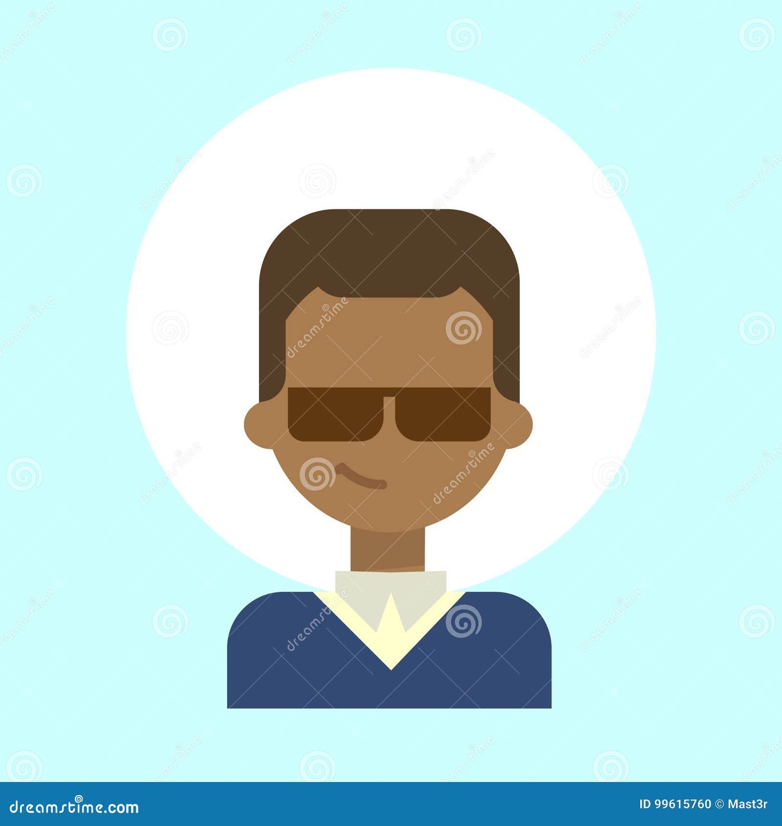 Icona d uso maschio afroamericana di profilo di emozione di vetro di Sun, fronte sorridente felice del ritratto del fumetto dell