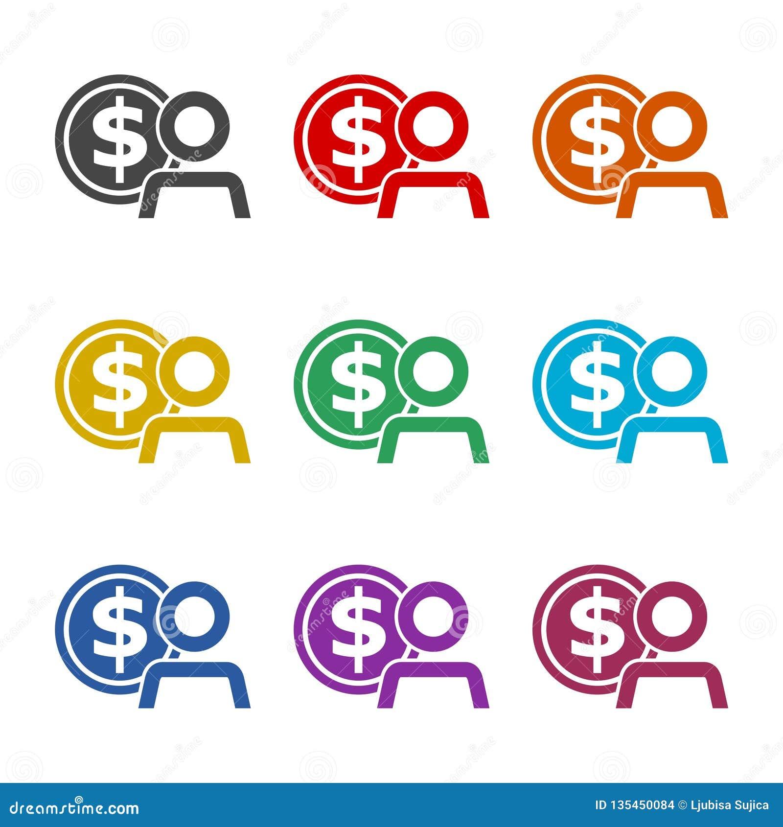 Icona degli stipendi degli impiegati o logo, siluetta dell uomo d affari con il simbolo di dollaro, icona dei guadagni dell utent