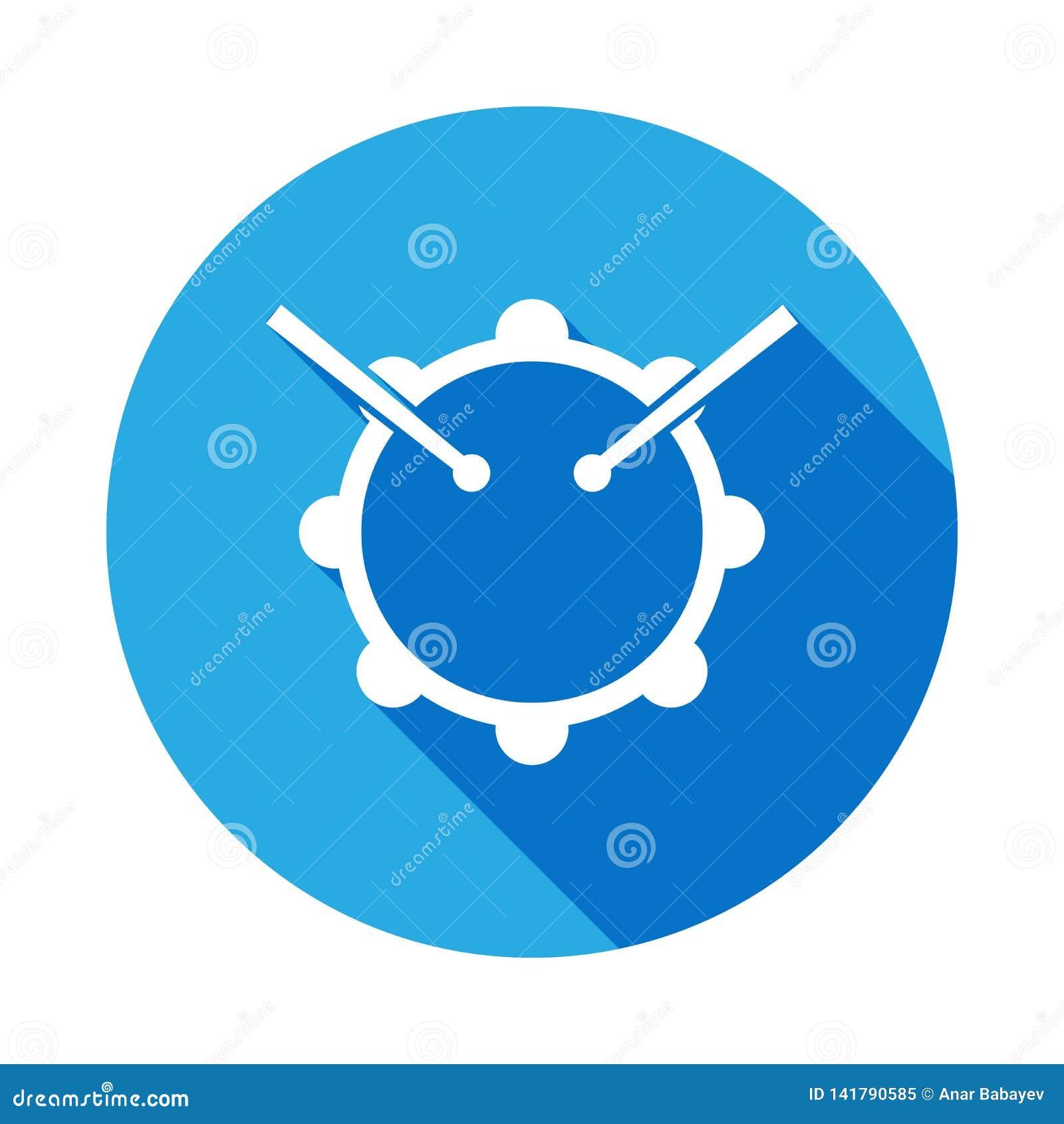 Icona dei bastoni e del tamburo con ombra lunga Elemento dell illustrazione di musica Segno premio di progettazione grafica di qu