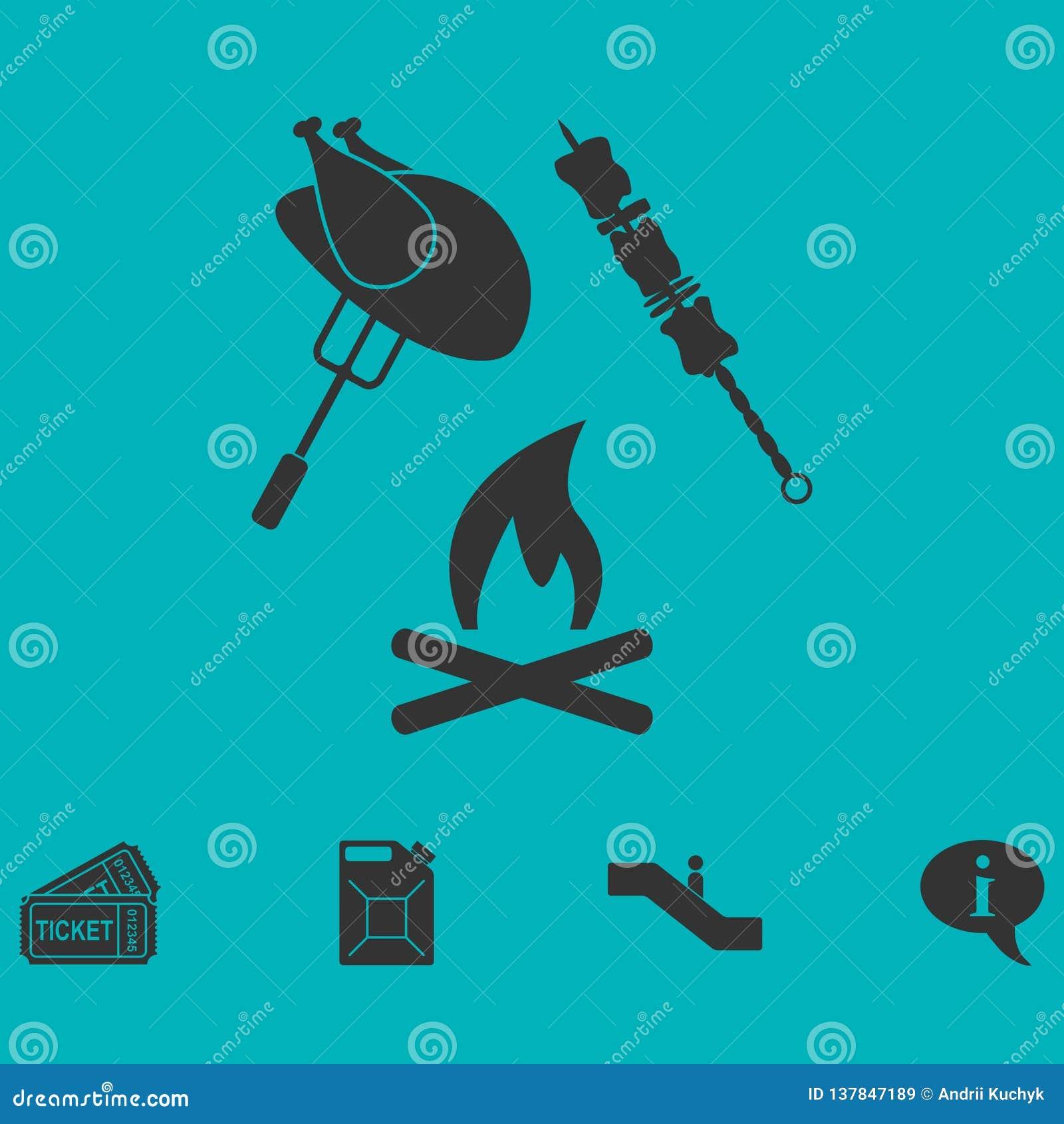 Icona del barbecue o della griglia pianamente
