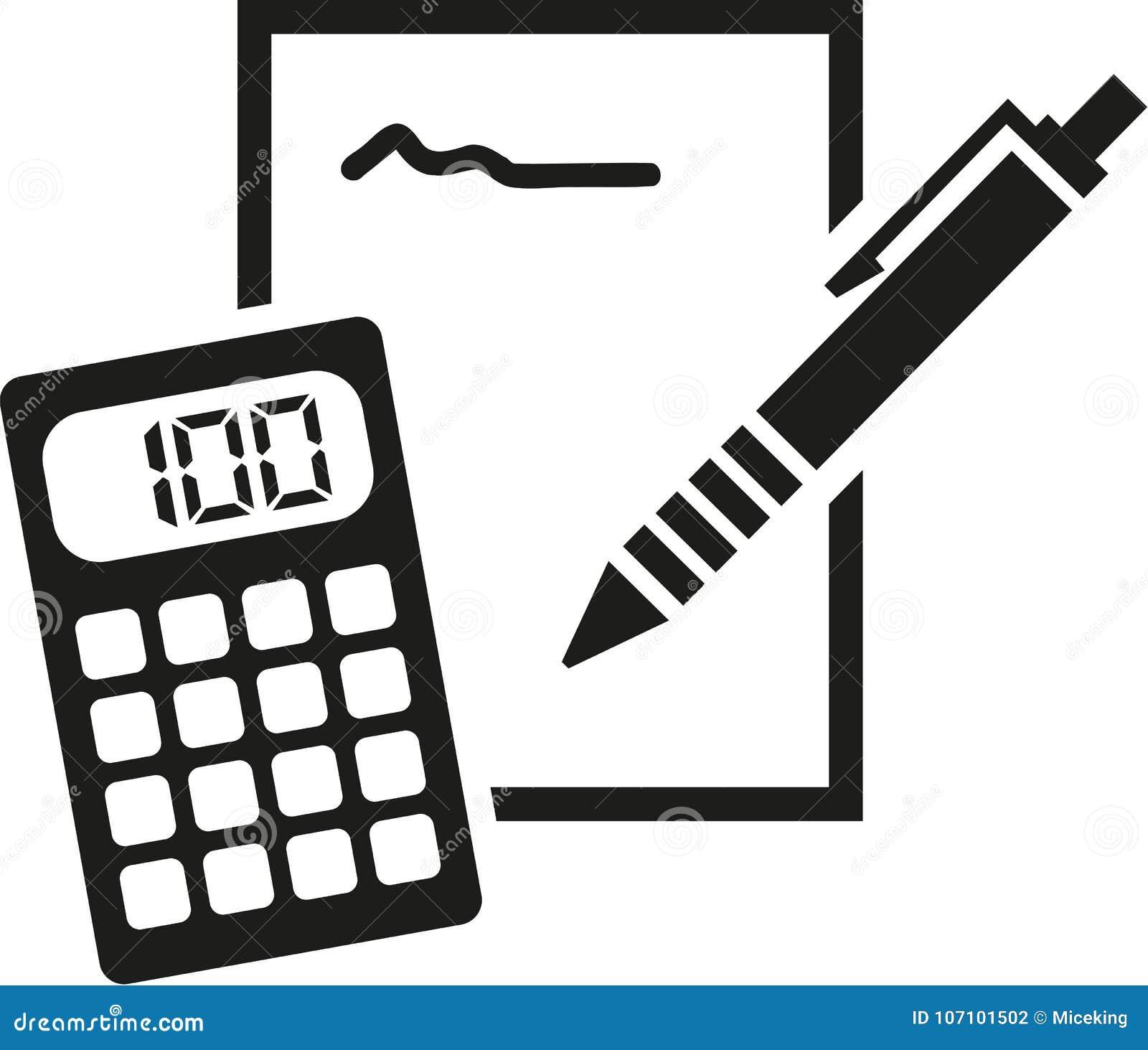 Icona del blocco note, della matita e del calcolatore