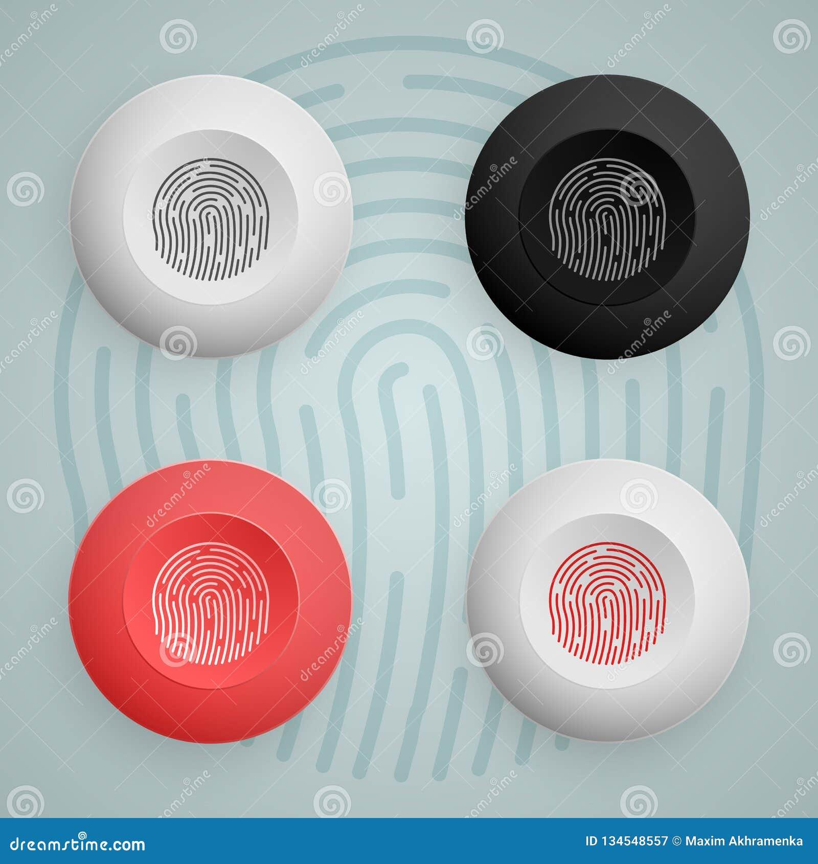 Icona del bottone dell impronta digitale multicolored Illustrazione di vettore