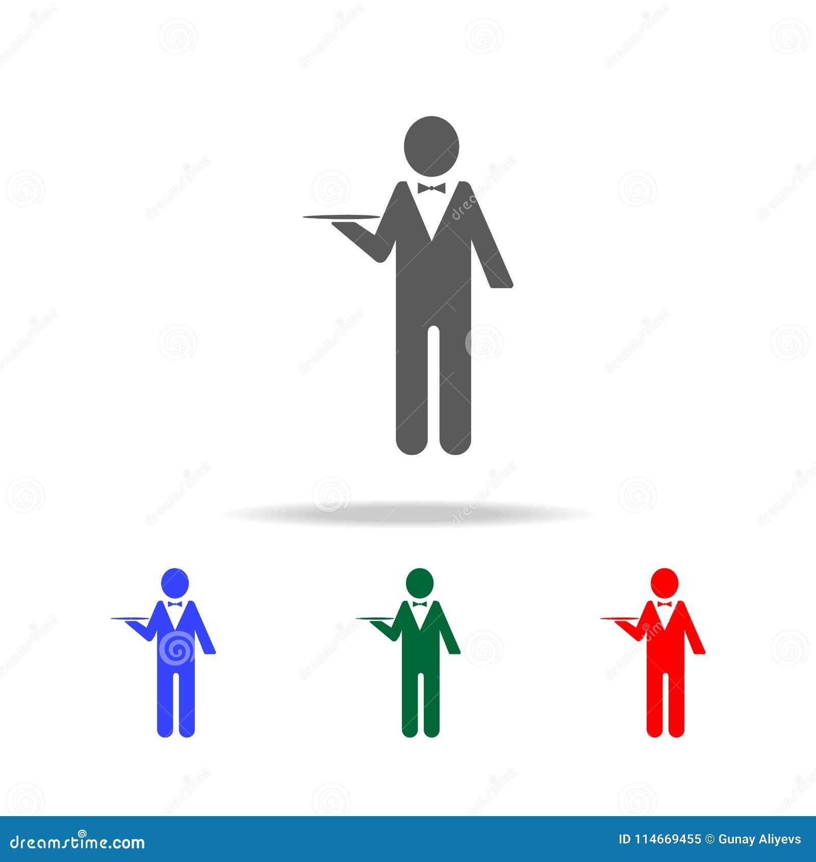 Icona del carattere del cameriere Elementi della professione della gente nelle multi icone colorate Icona premio di progettazione