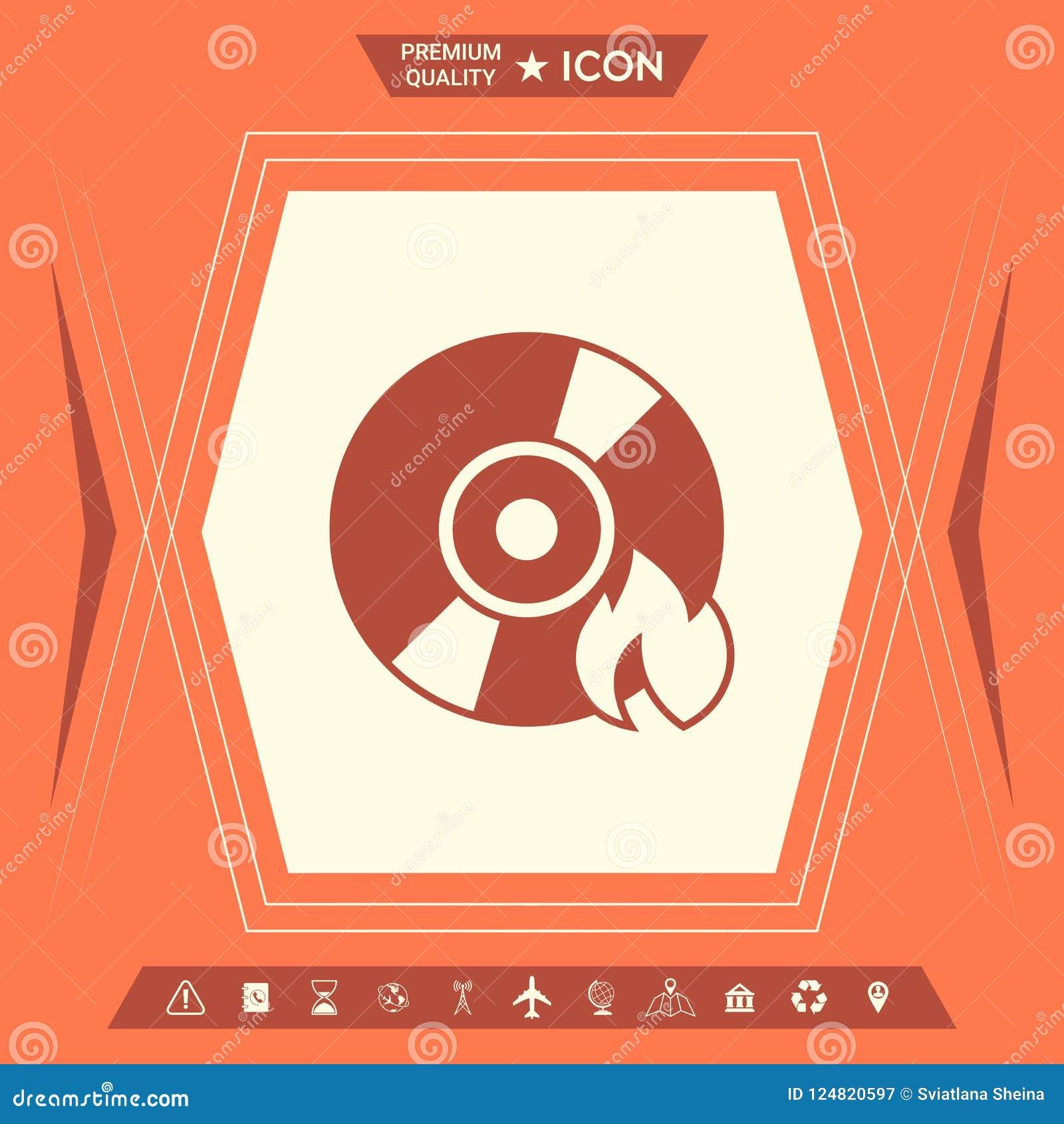 Icona del CD o di DVD dell ustione