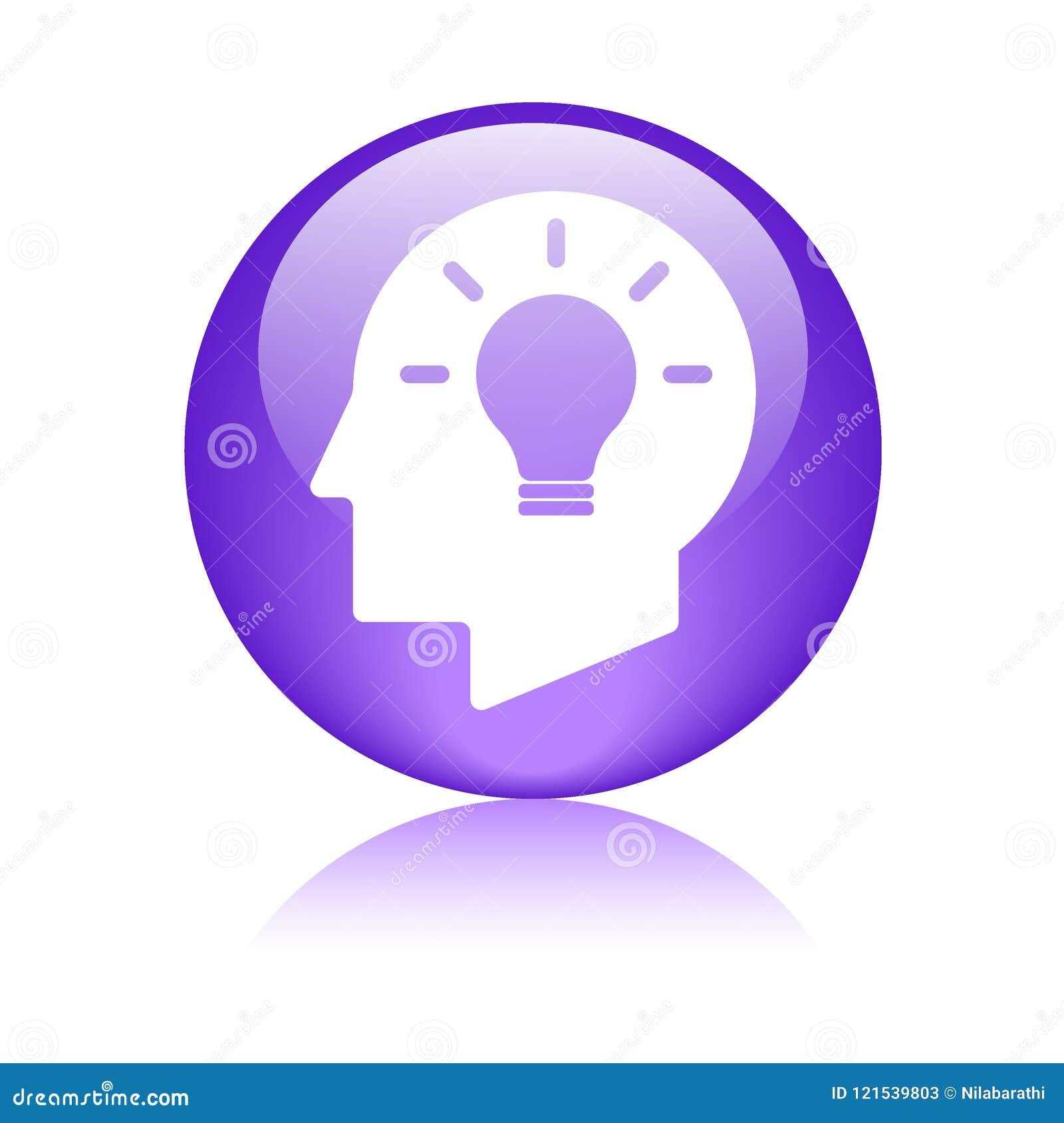 Icona del cervello della testa della lampadina di idea