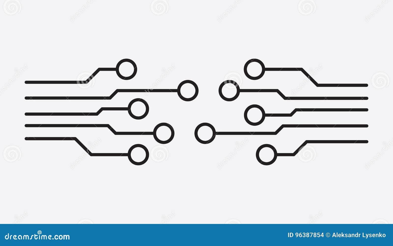 Schemi Elettrici Di Circuiti : Icona del circuito illustr piano di vettore di simbolo di schema di