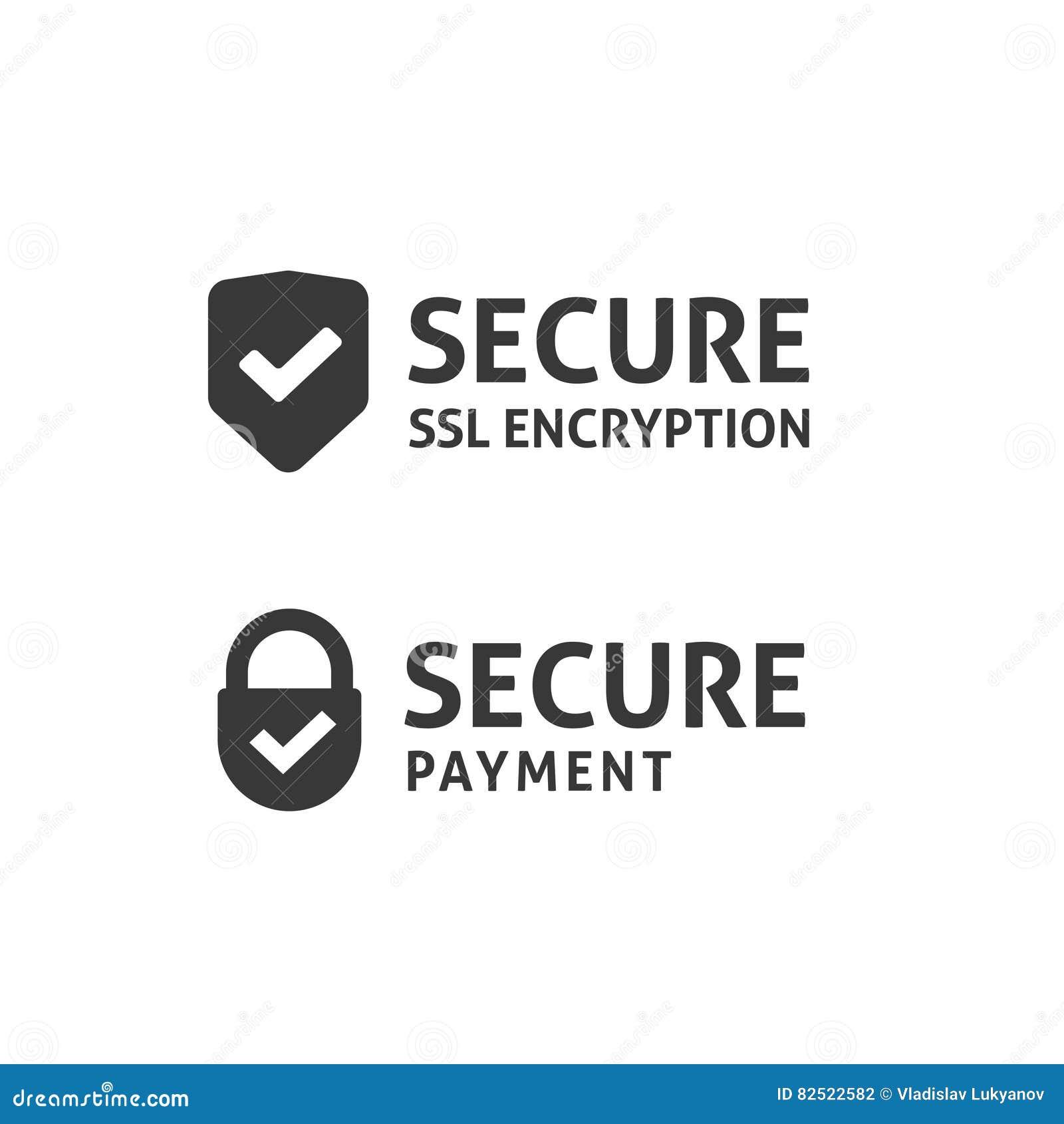 Icona del collegamento sicuro, schermo fissato dello SSL, pagamento protetto, dati sicuri