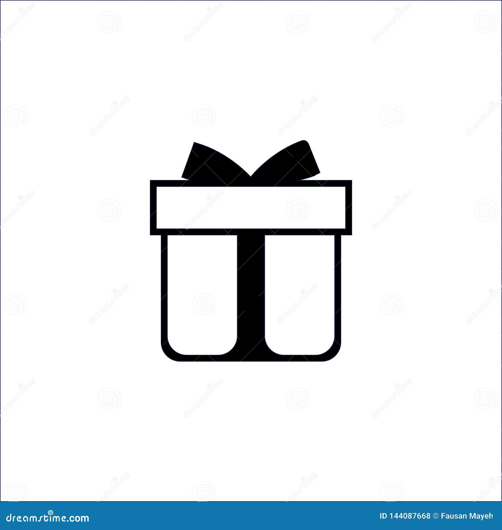 Icona del contenitore di regalo su fondo bianco Illustrazione di vettore