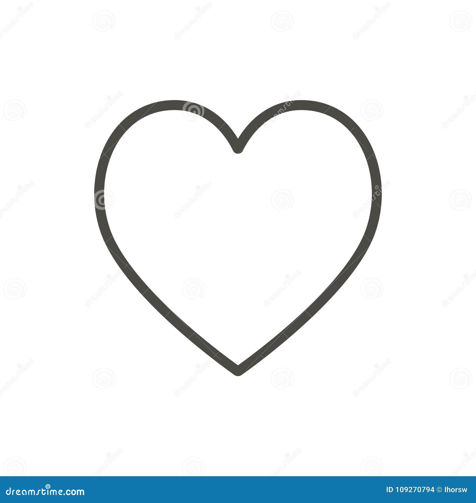 Icona del cuore, linea vettore Simbolo di amore del profilo