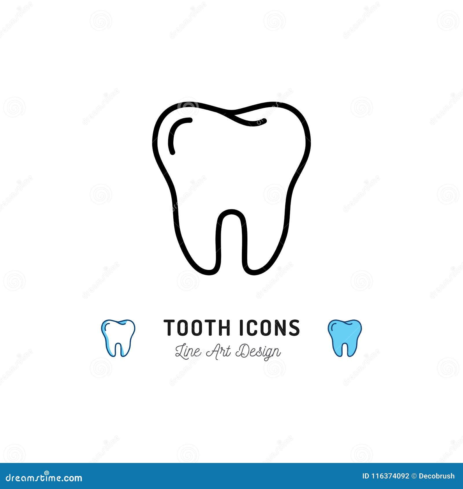 Icona del dente, segno dei denti Logo di cure odontoiatriche, linea dentaria icona della clinica Illustrazione di vettore