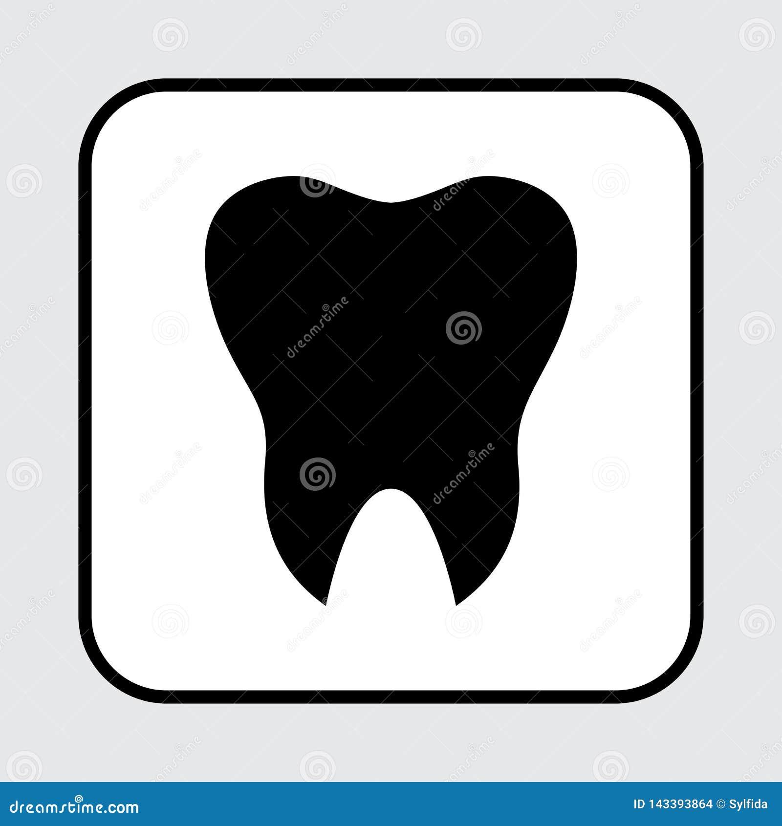 Icona del dente Siluetta nera Vettore