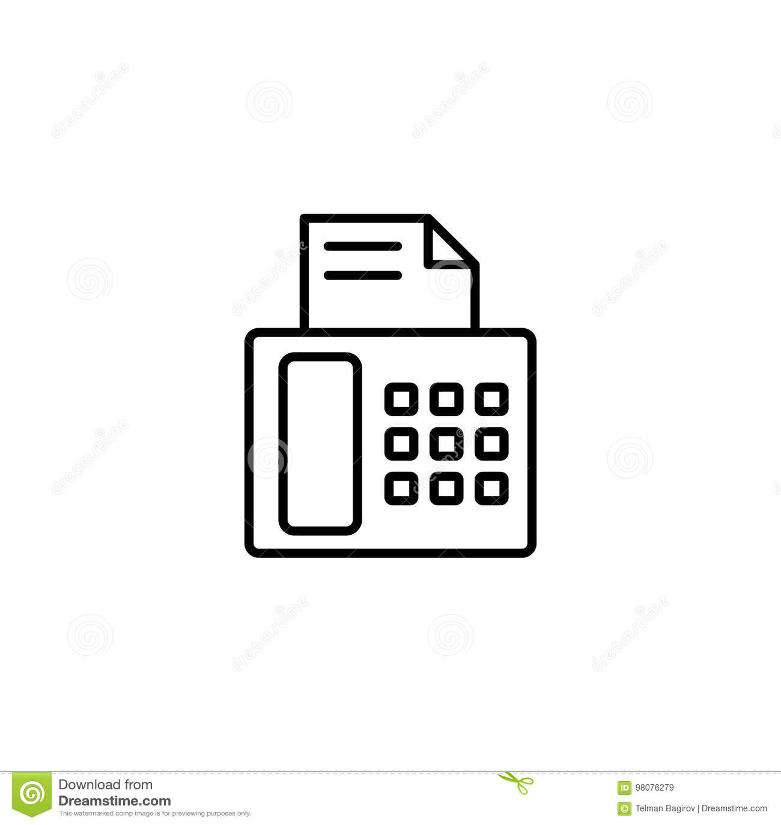 Icona del fax su fondo bianco
