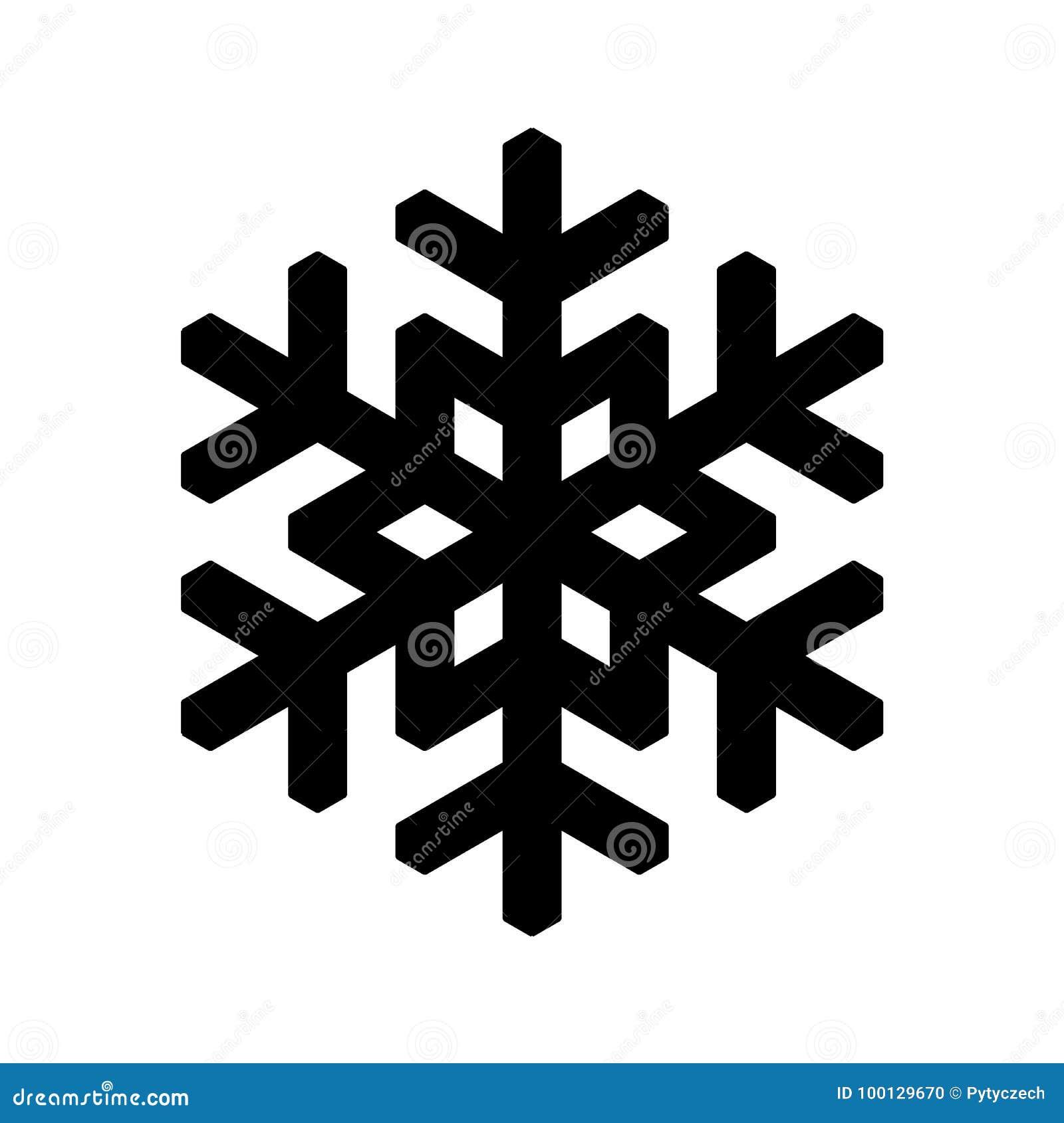 Icona del fiocco di neve Natale e tema di inverno Illustrazione semplice del nero piano su fondo bianco