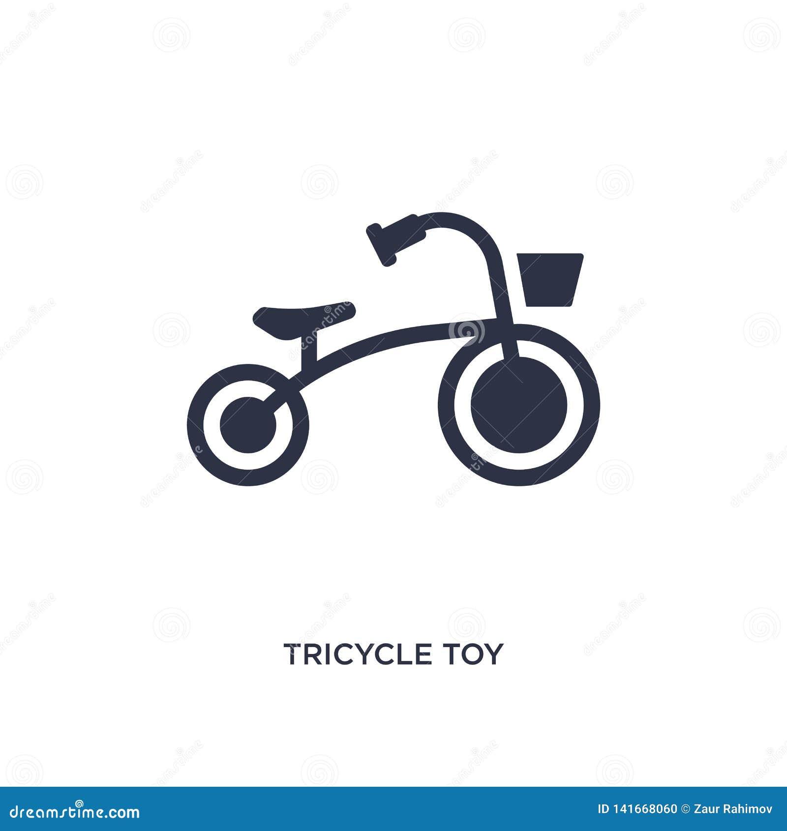 Icona del giocattolo del triciclo su fondo bianco Illustrazione semplice dell elemento dal concetto dei giocattoli