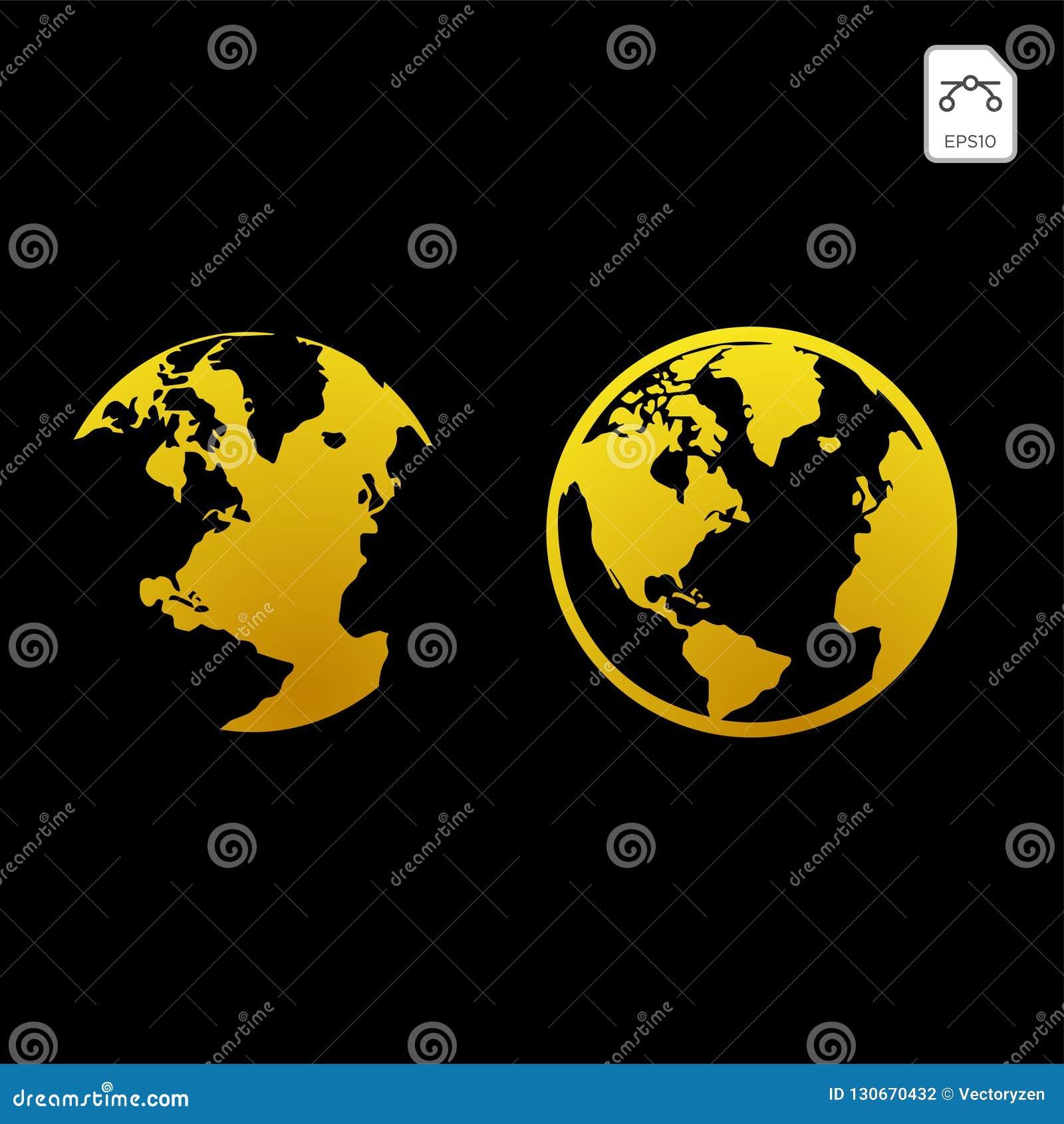 Icona del globo dell oro Illustrazione lucida di concetto di vettore di industria di affari della terra, web del mondo largamente