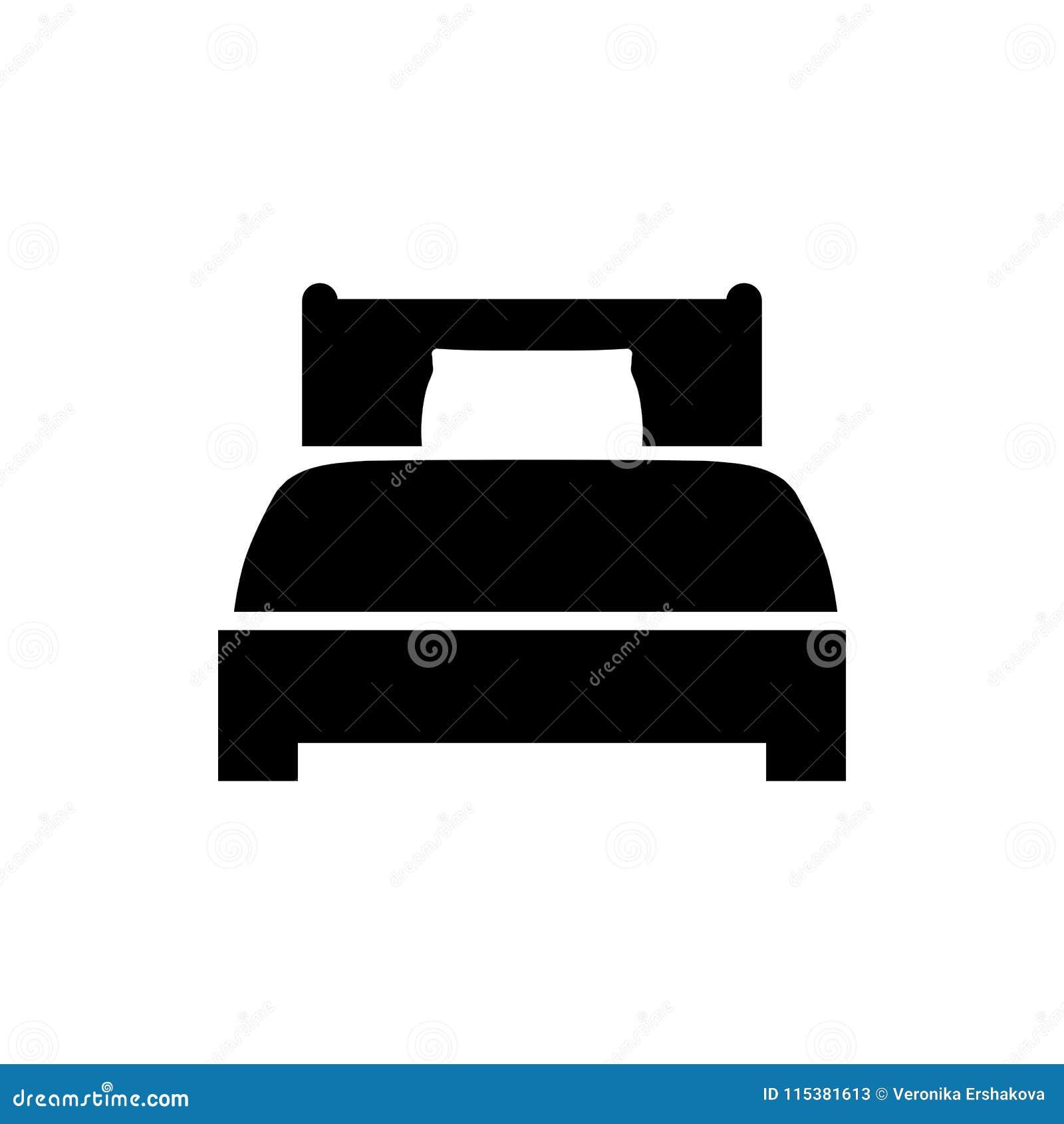 Icona del letto nello stile piano Simbolo dell hotel