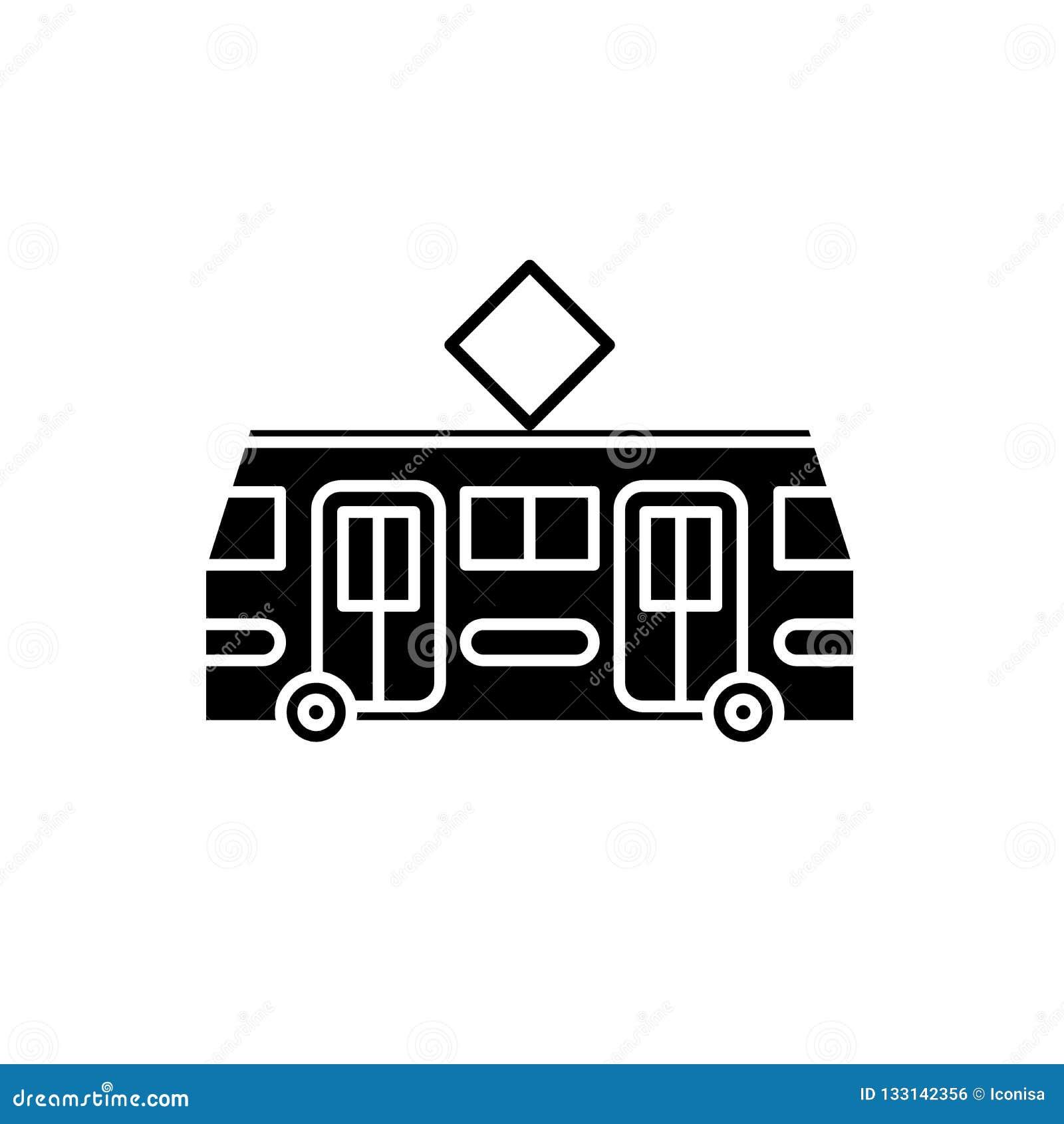 Icona del nero della linea tranviaria, segno di vettore su fondo isolato Simbolo di concetto della linea tranviaria, illustrazion