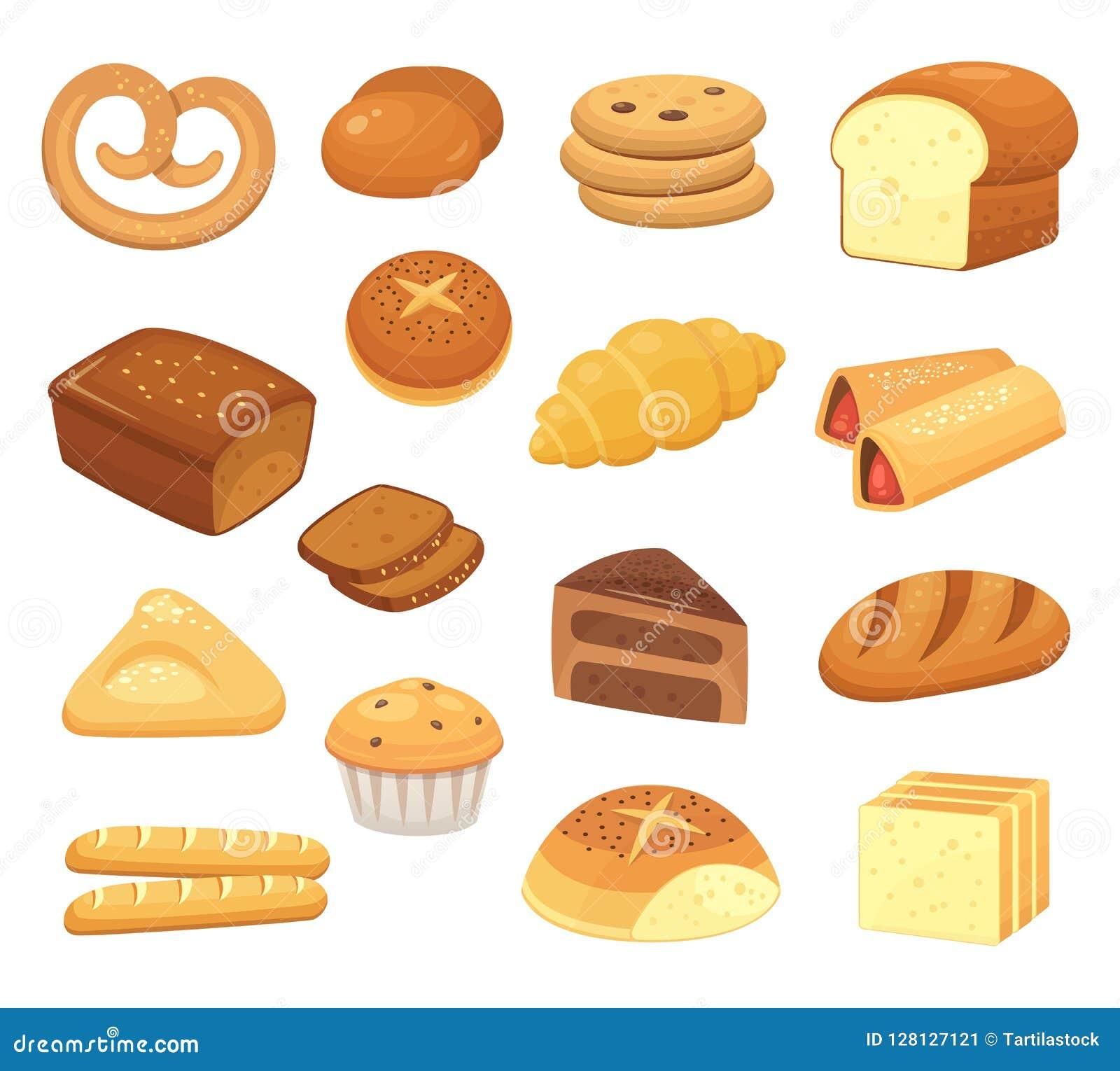 Icona del pane del fumetto Pane e panini Rotolo francese, pane tostato della prima colazione e fetta dolce del dolce Icone di vet